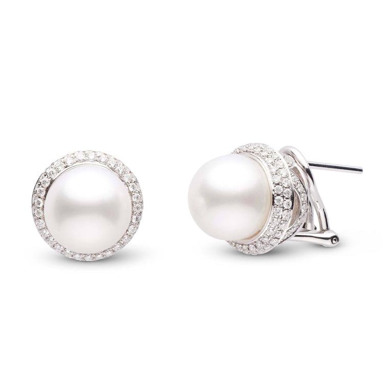 9.0-10.0 mm White South Sea Pearl and Diamond Monarch Omega Back Earrings