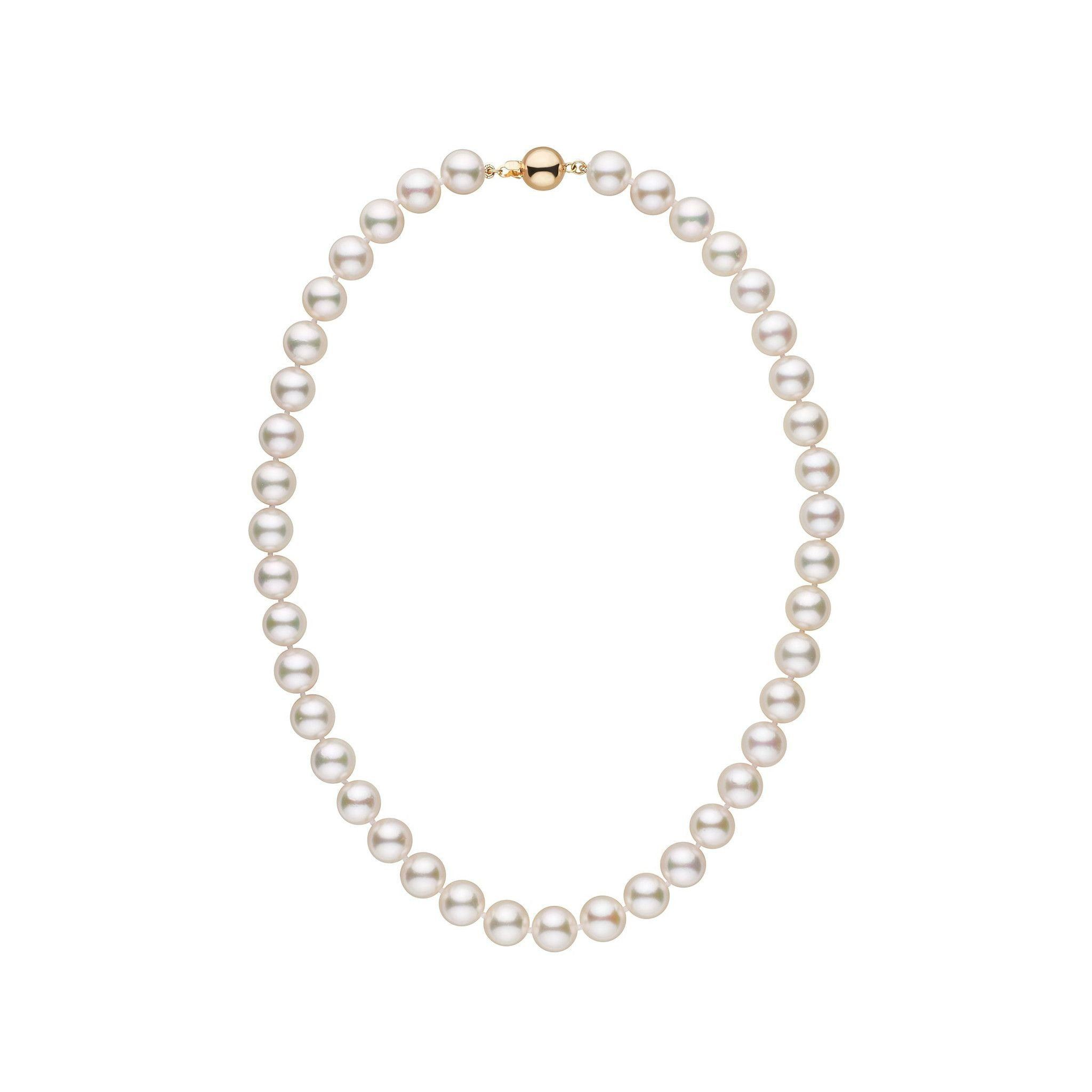 9.0-9.5 mm 16 Inch AA+ White Akoya Pearl Necklace