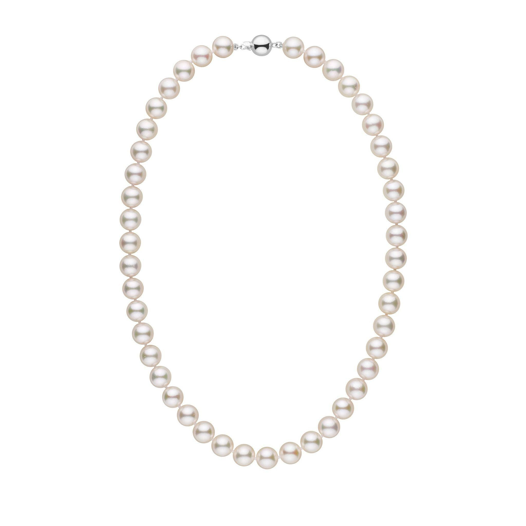 9.0-9.5 mm 18 Inch AA+ White Akoya Pearl Necklace