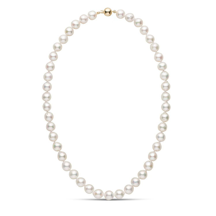 9.0-9.5 mm 18 Inch White Akoya Baroque Pearl Necklace