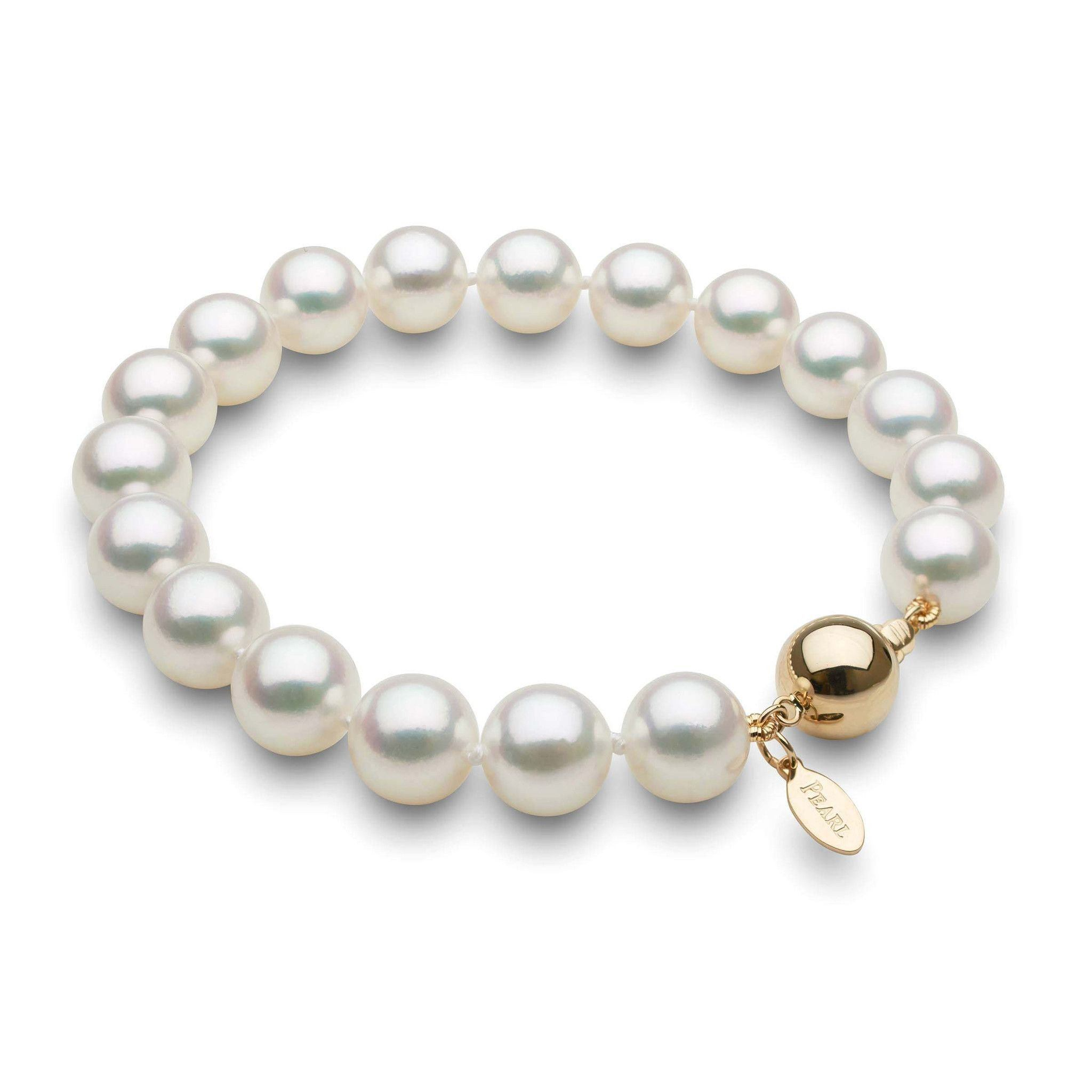 9.0-9.5 mm Natural White Hanadama Akoya Pearl Bracelet