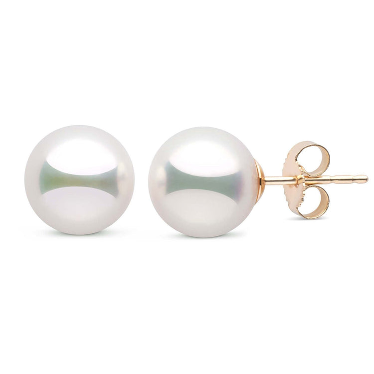 9.0-9.5 mm Natural White Hanadama Pearl Stud Earrings