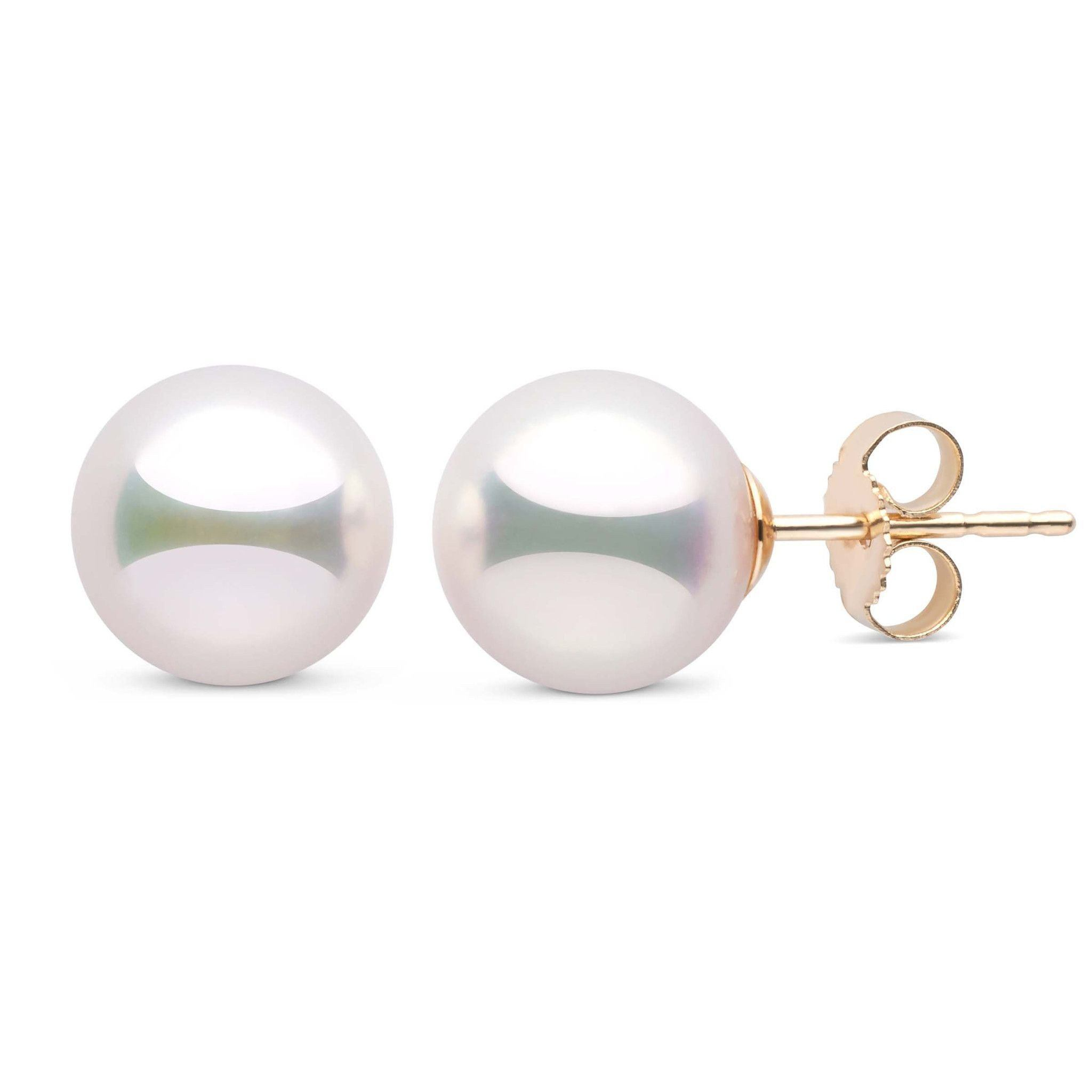 9.0-9.5 mm White Hanadama Pearl Stud Earrings