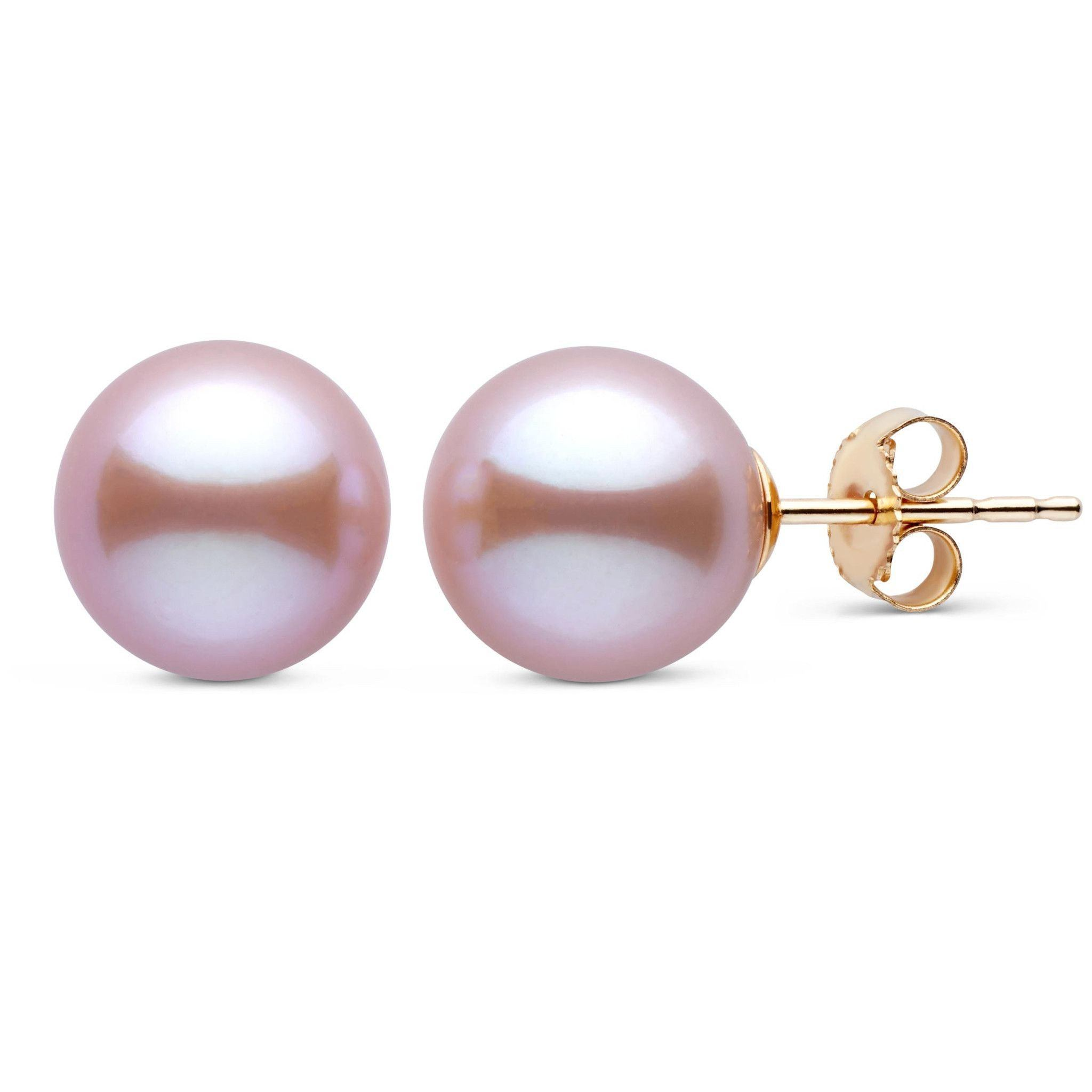 9.5-10.0 mm Lavender Freshadama Freshwater Pearl Stud Earrings