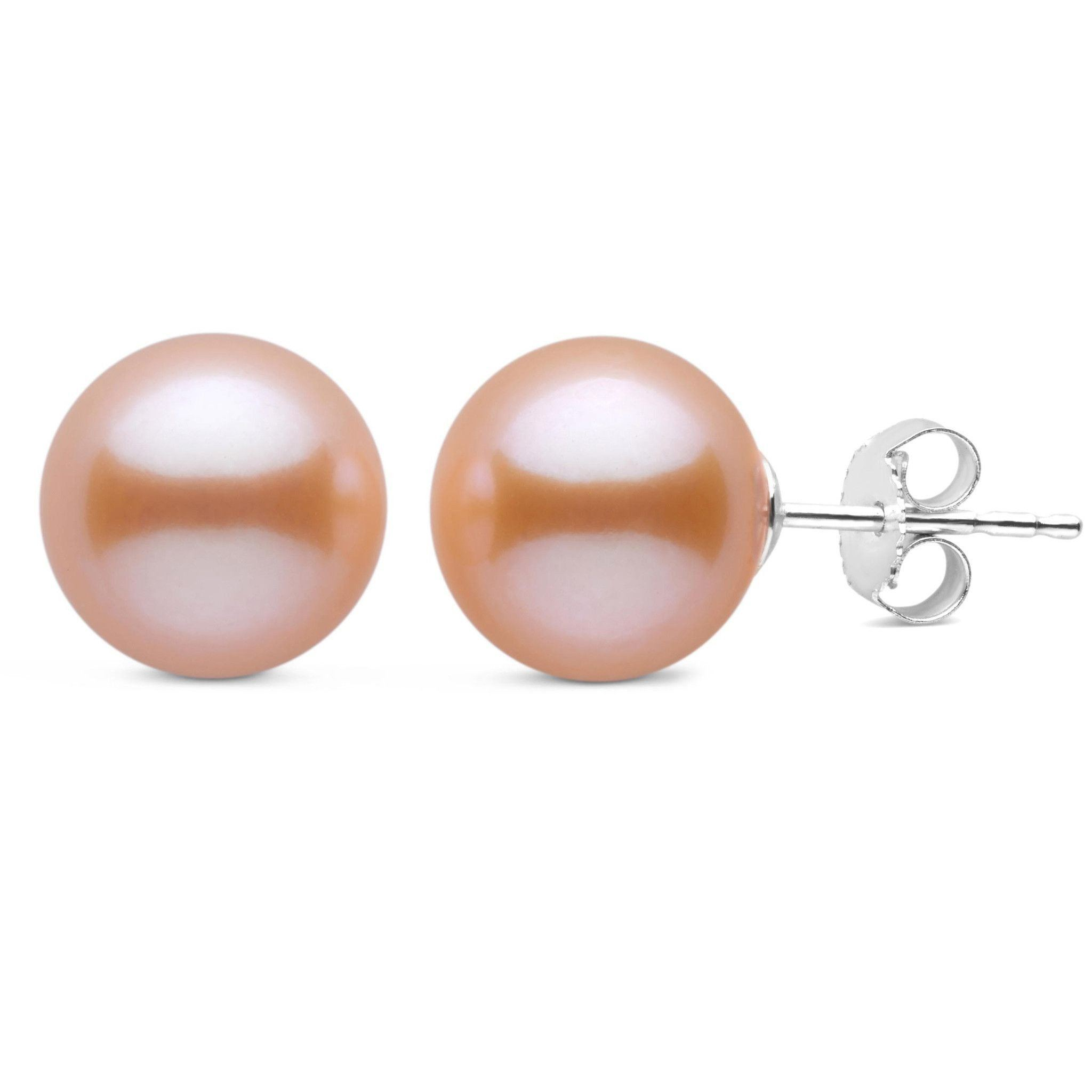 9.5-10.0 mm Pink to Peach Freshadama Freshwater Pearl Stud Earrings