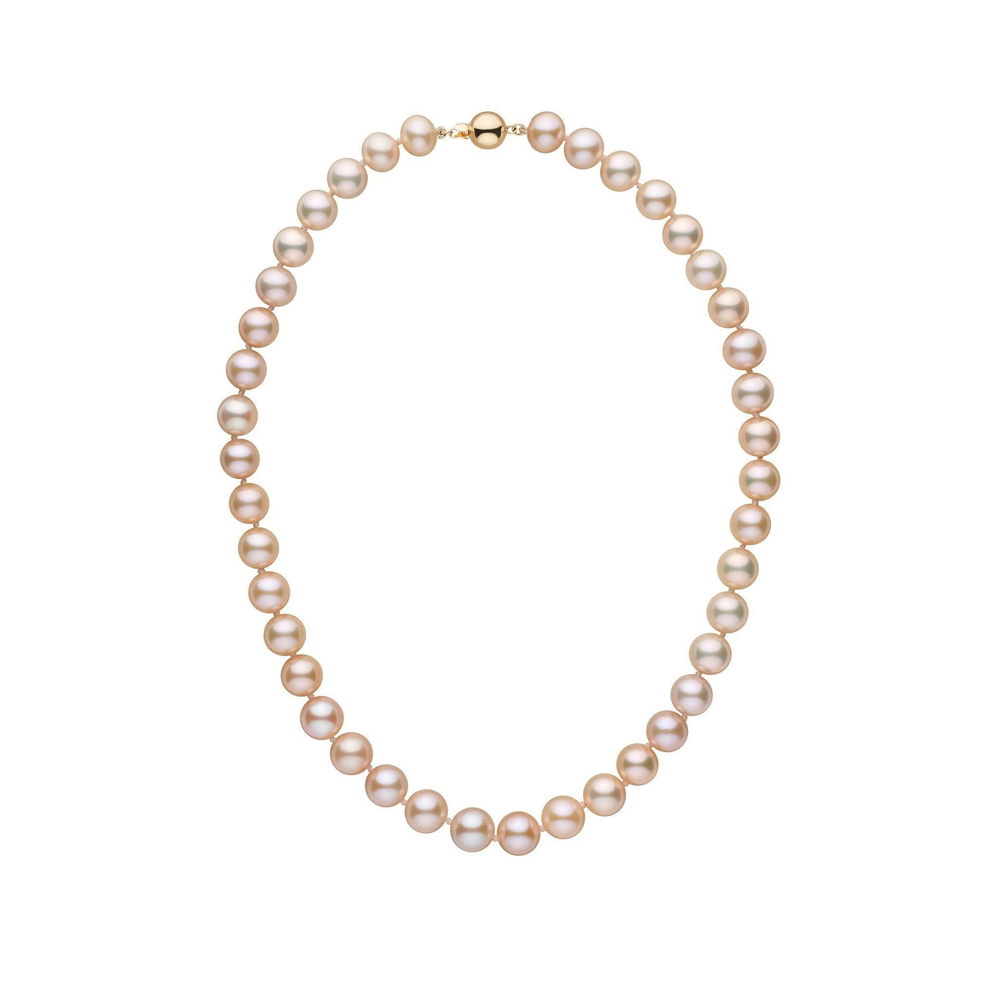 9.5-10.5 mm 16 inch AAA Pink to Peach Freshwater Pearl Necklace