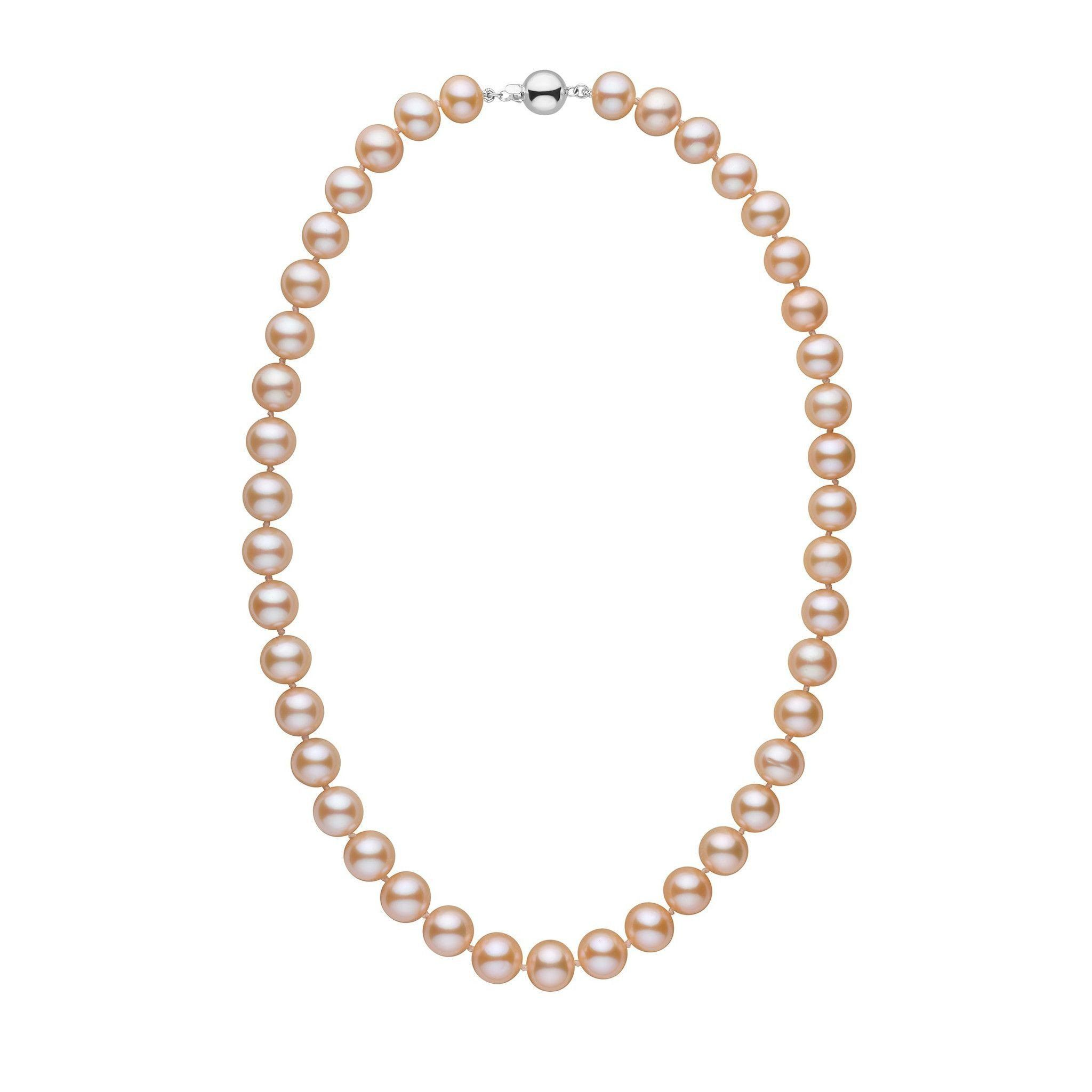 9.5-10.5 mm 18 inch AA+ Pink to Peach Freshwater Pearl Necklace