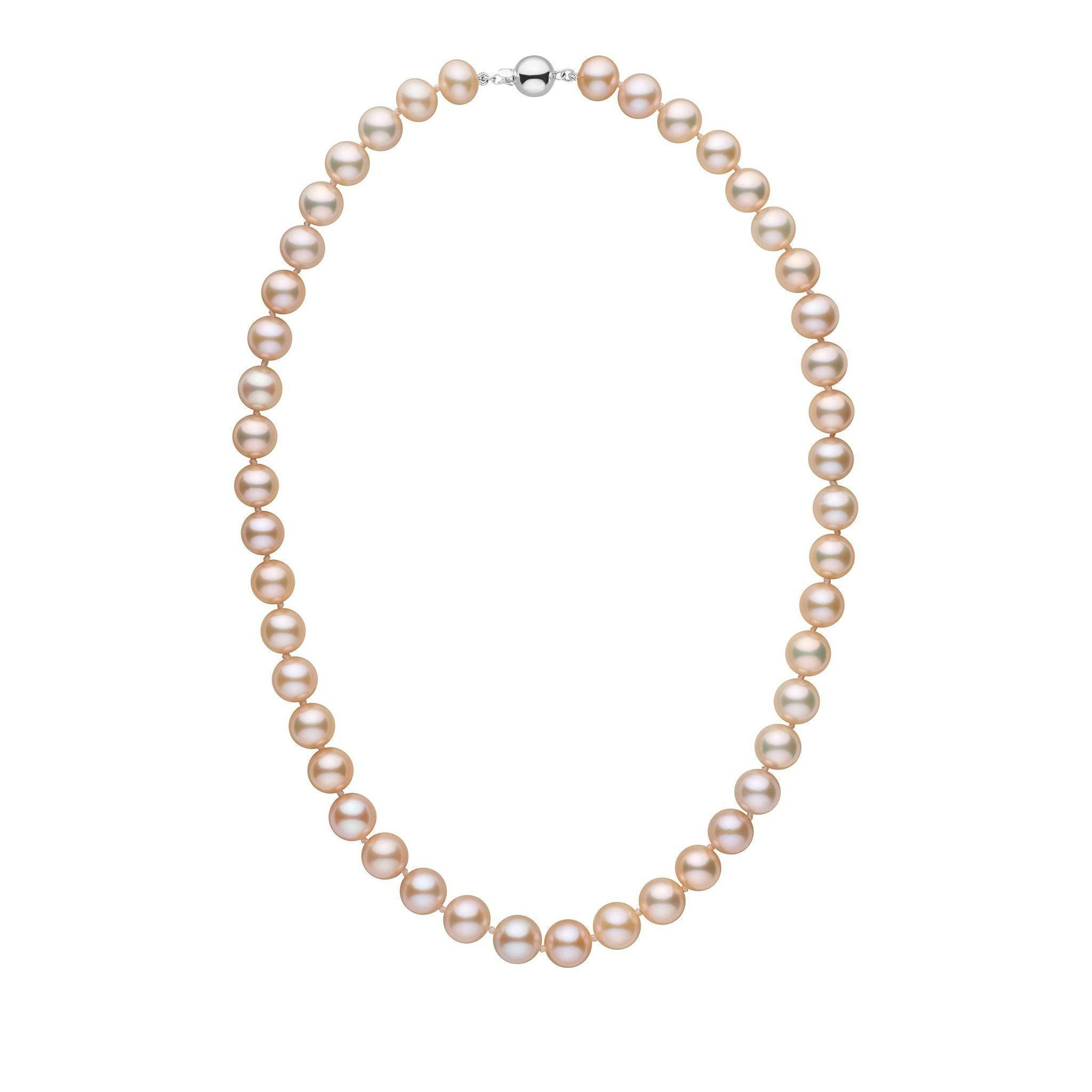 9.5-10.5 mm 18 inch AAA Pink to Peach Freshwater Pearl Necklace