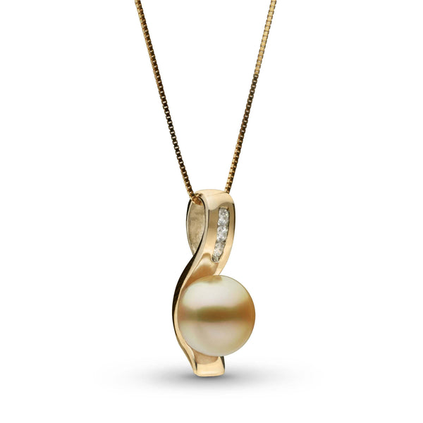Melody Collection Champagne Gold South Sea Pearl and Diamond Pendant