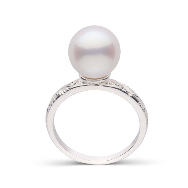 Limited Edition Hand Engraved White Freshadama Pearl Ring