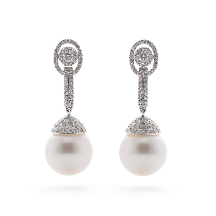 White South Sea Pearl and Pave Diamond Dangle Stud Earrings