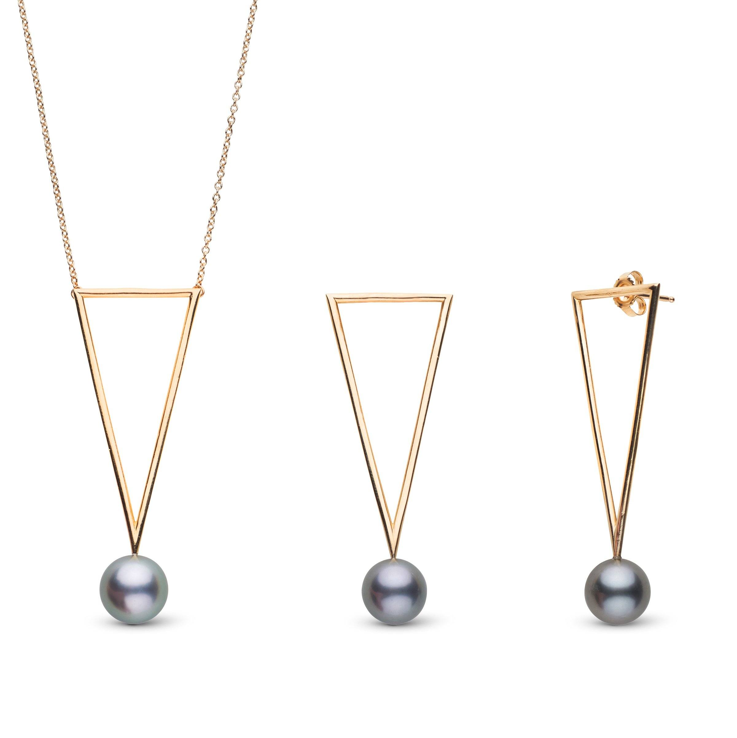 Tahitian Pearls Triangle Collection Earring and Necklace Set