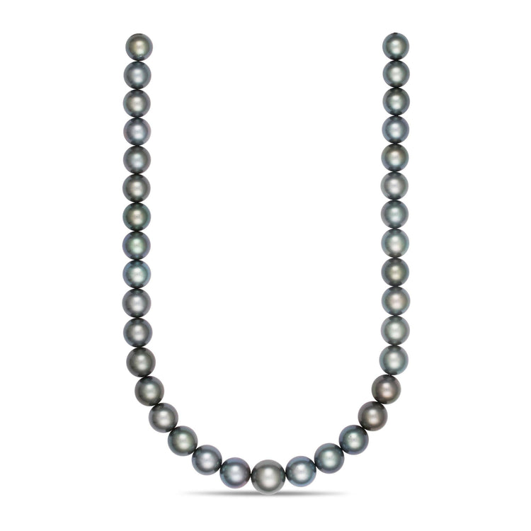 11.05 x 13.9 mm AA+/AAA Blue-Green Round Tahitian Pearl Necklace
