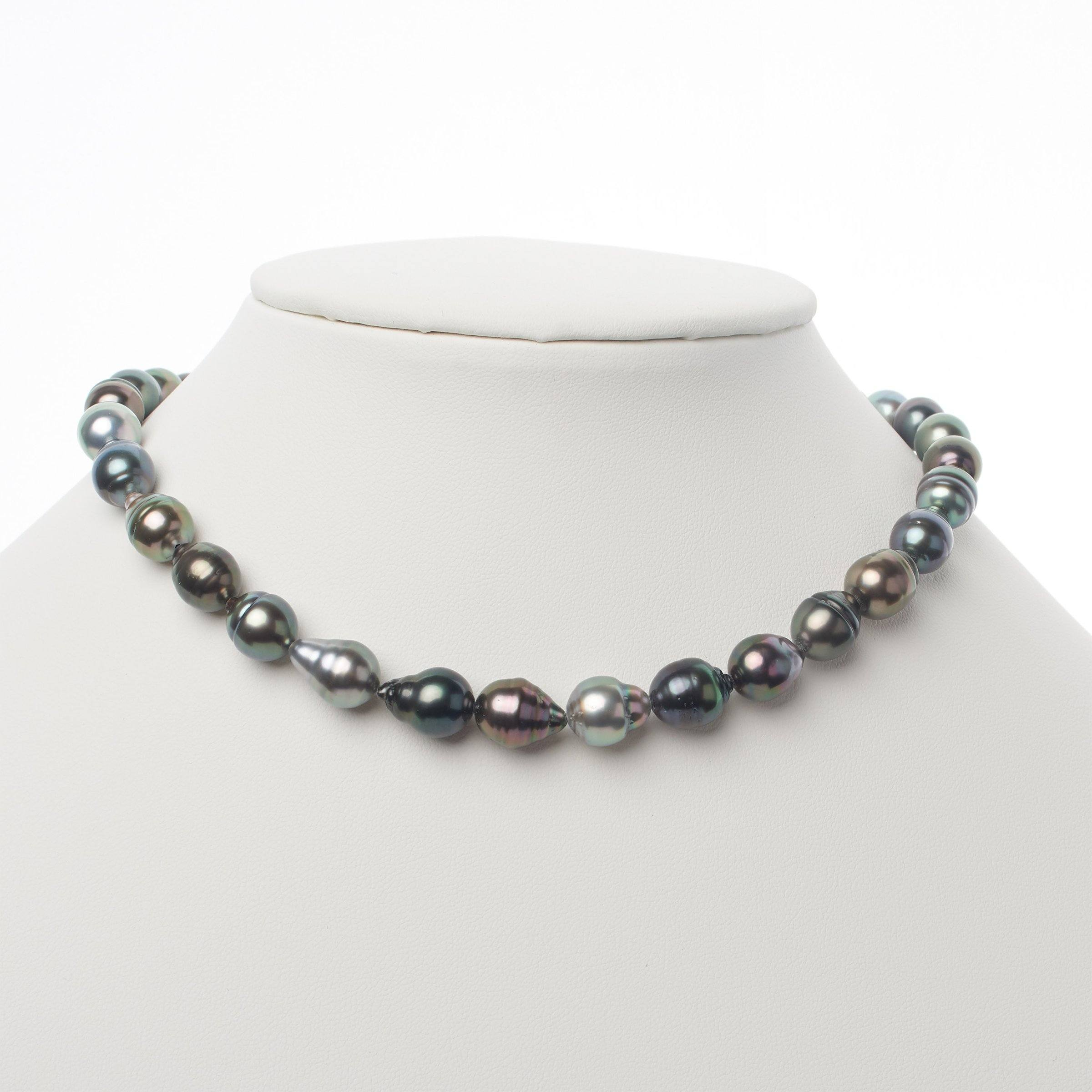 8.3-10.4 mm AAA Tahitian Baroque to Drop Pearl Necklace