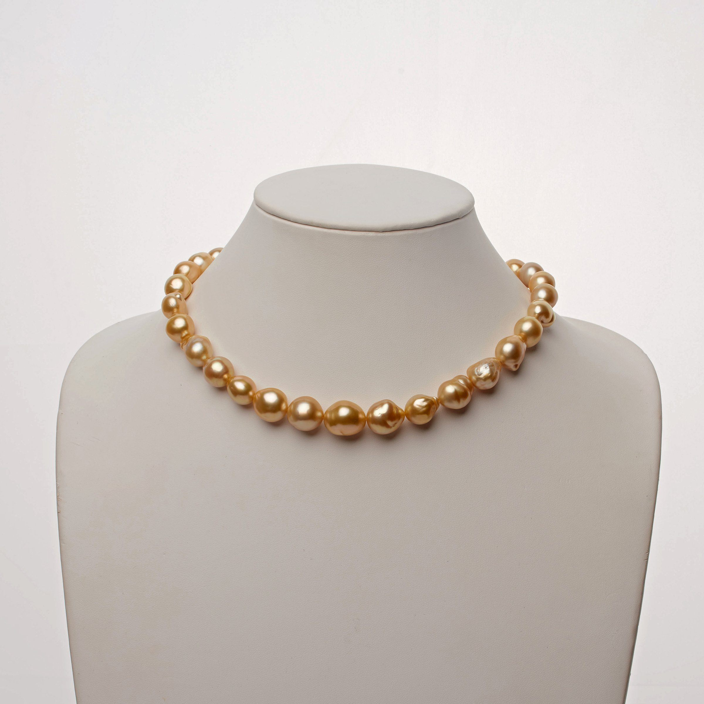 10.4-13.7 mm AA+/AAA Golden South Sea Baroque Pearl Necklace