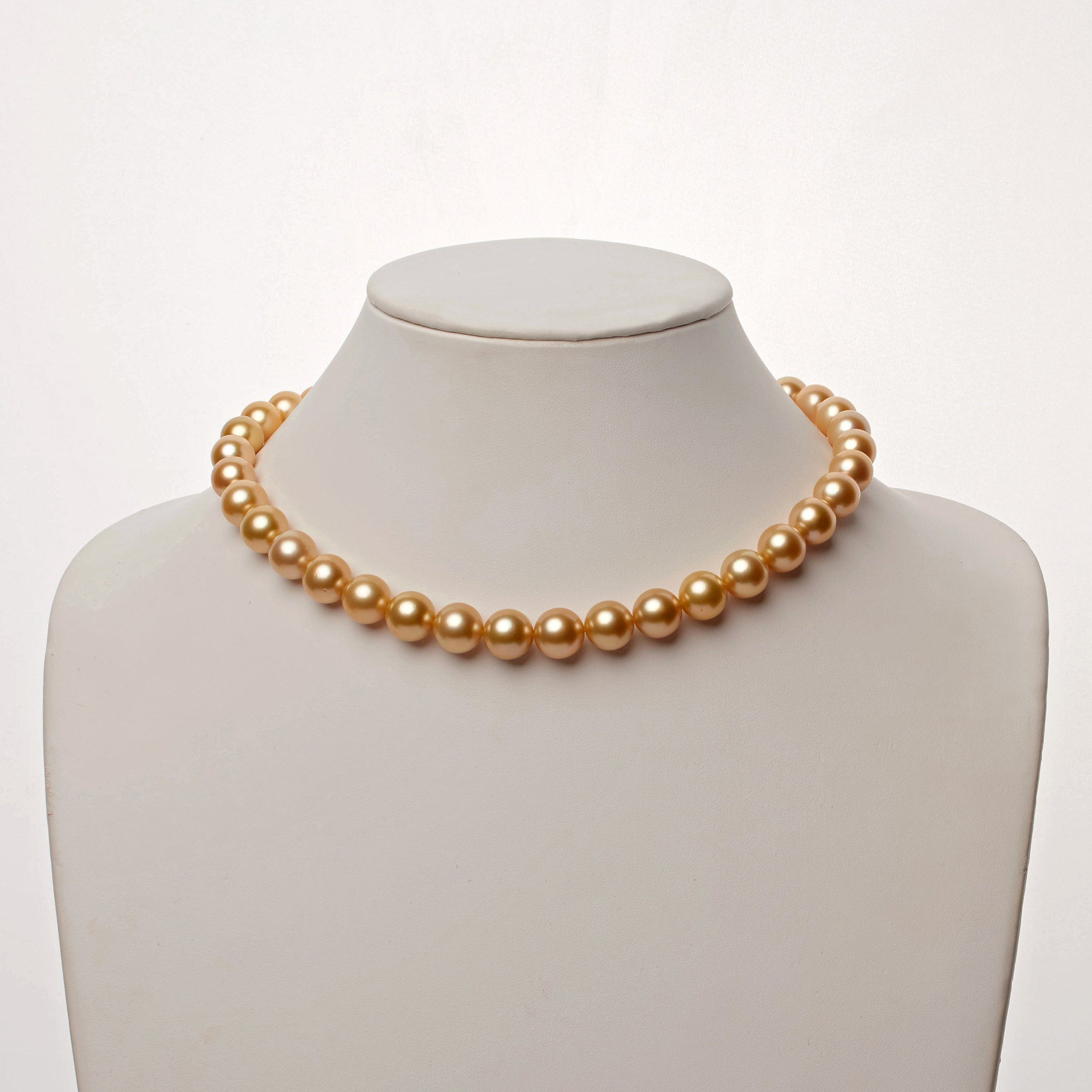 10.0-12.0 mm AA+/AAA Golden South Sea Round Pearl Necklace