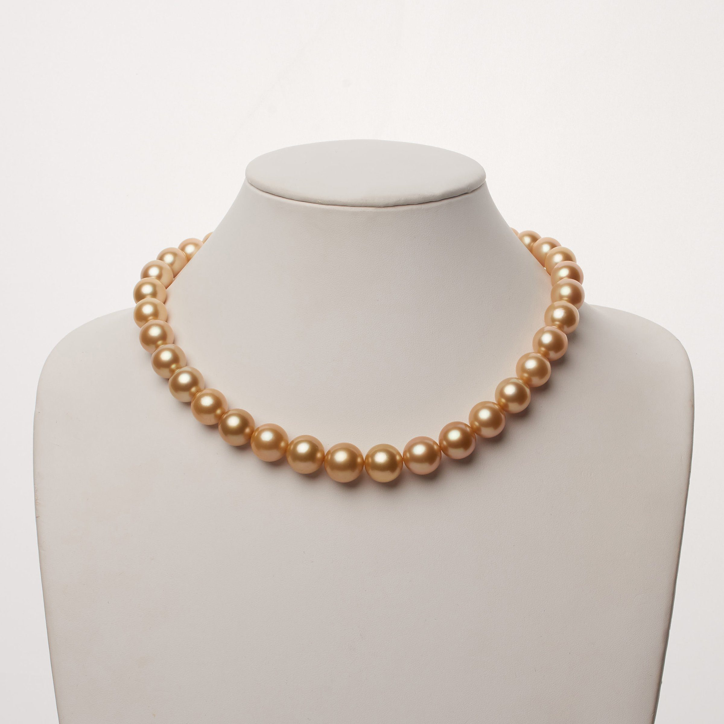 11.1-14.2 mm AA+/AAA Golden South Sea Round Pearl Necklace
