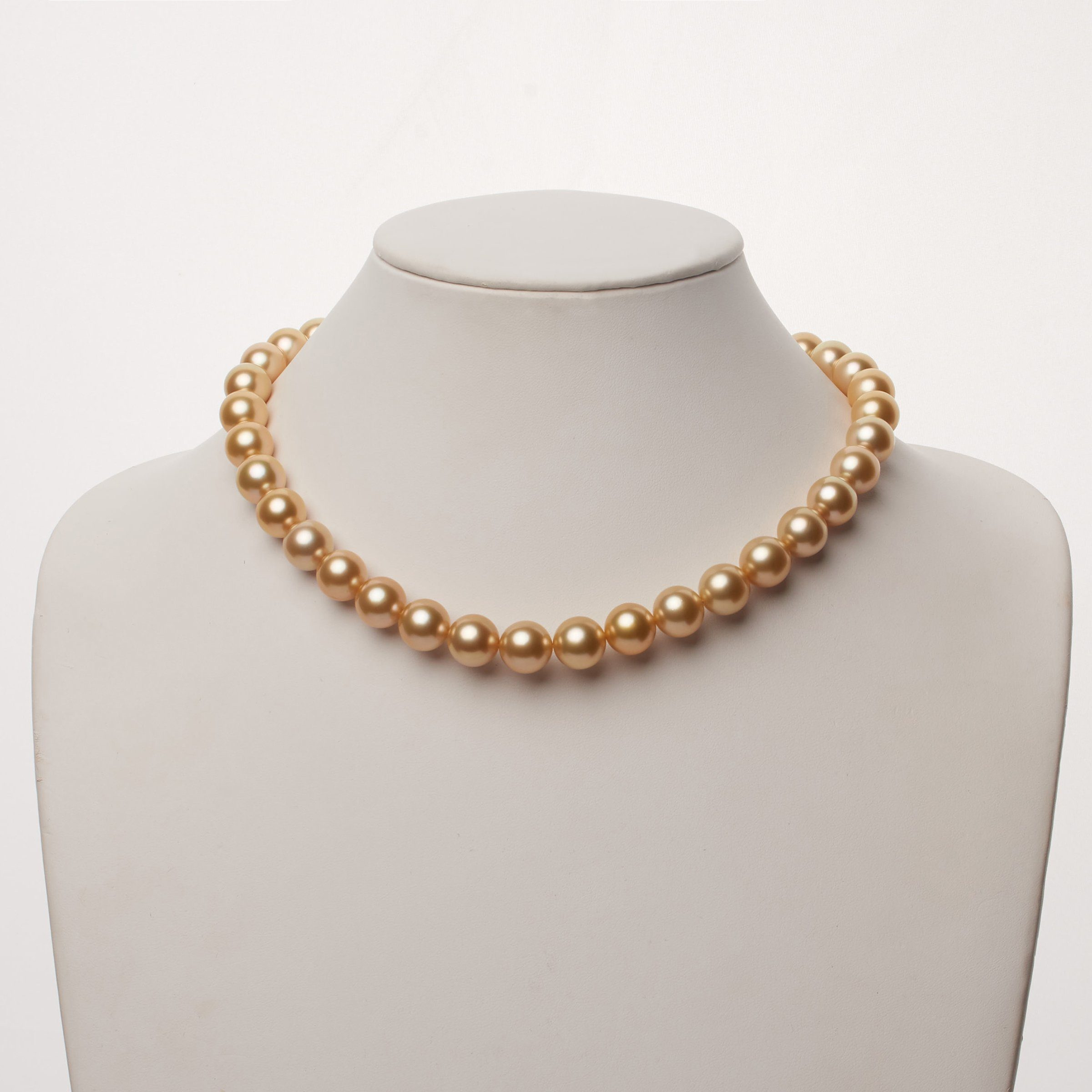 11.0-12.0 mm AAA Golden South Sea Round Pearl Necklace