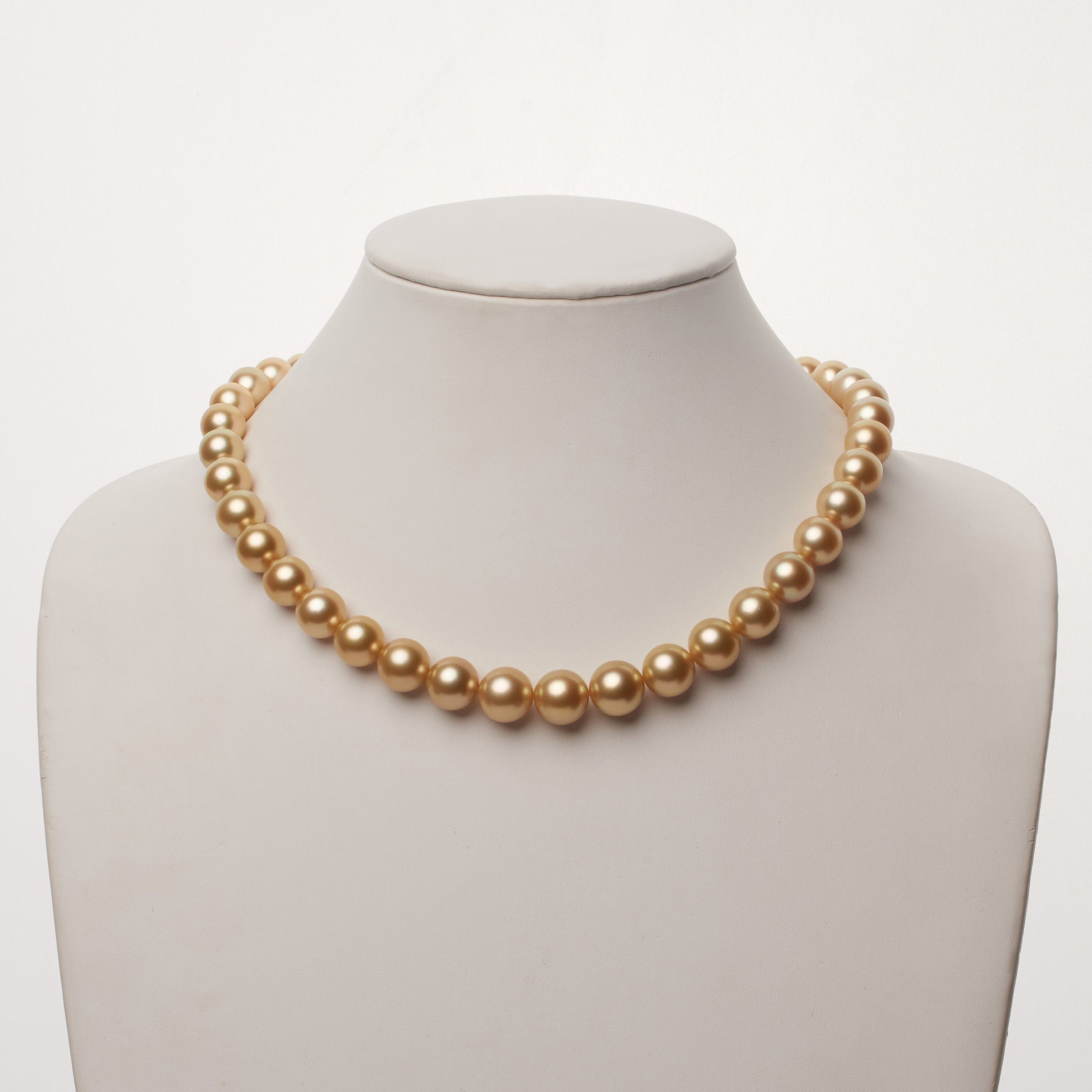 12.1-15.2 mm AAA Golden South Sea Round Pearl Necklace