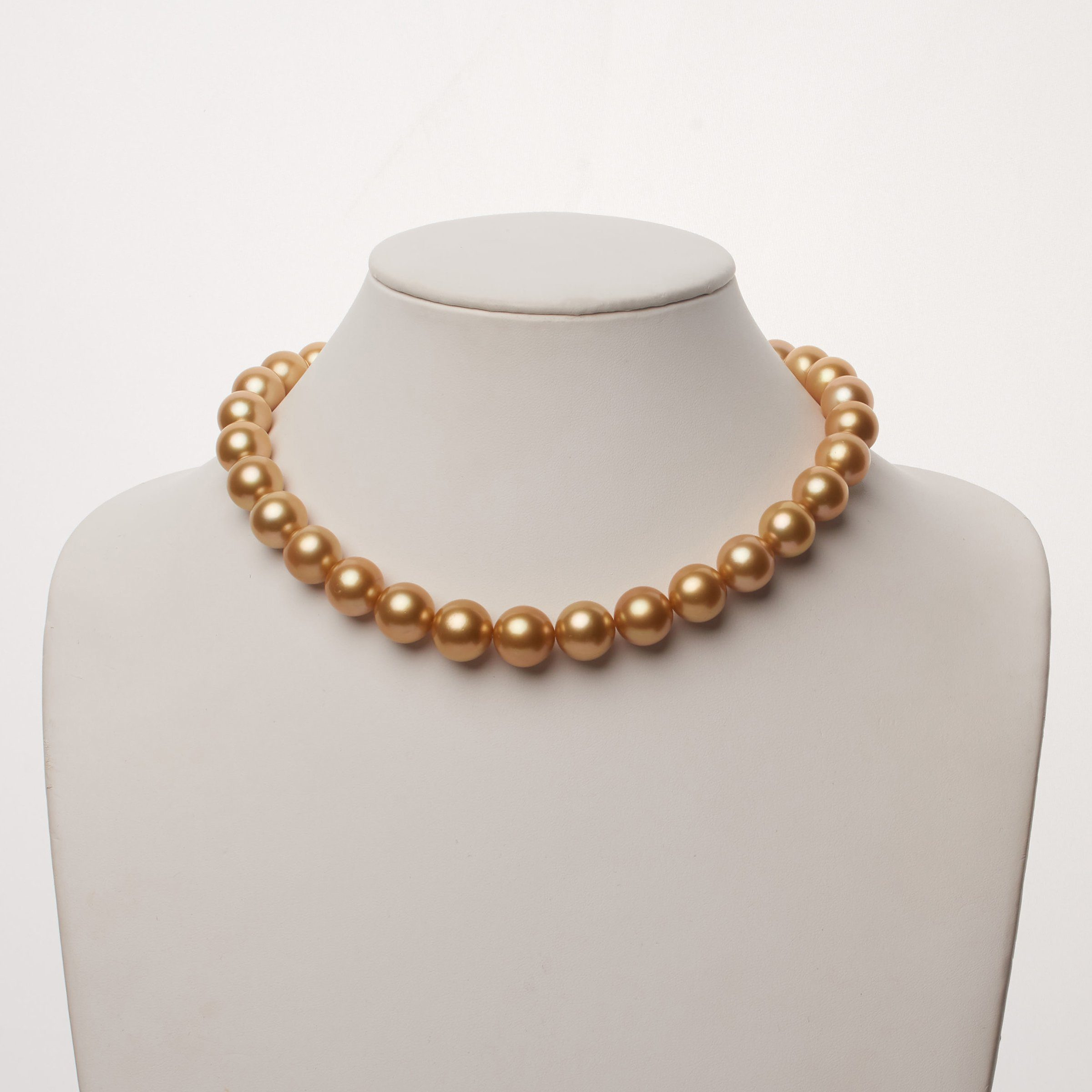13.0-14.5 mm AA+/AAA Golden South Sea Round Pearl Necklace