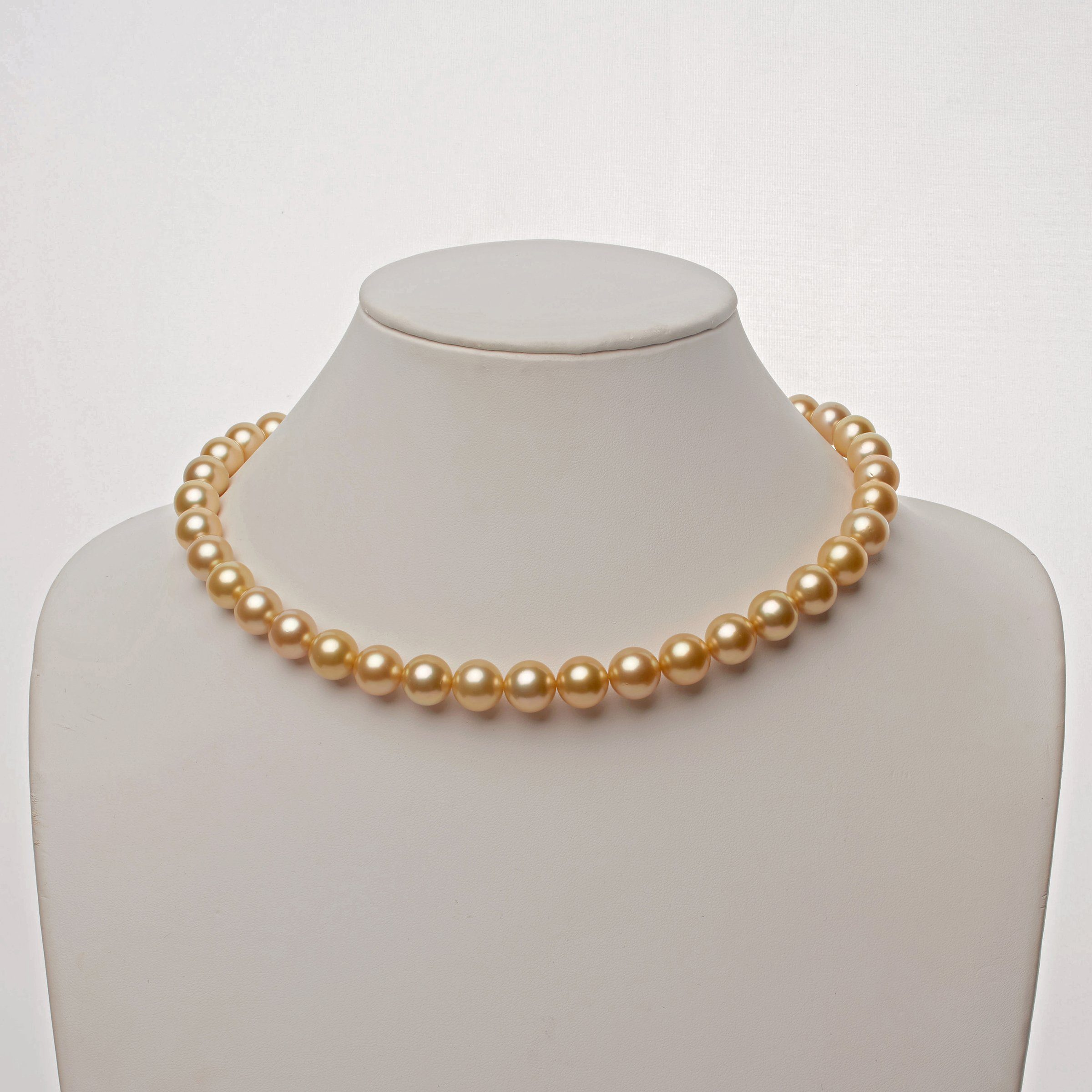 10.0-11.9 mm AA+/AAA Golden South Sea Round Pearl Necklace