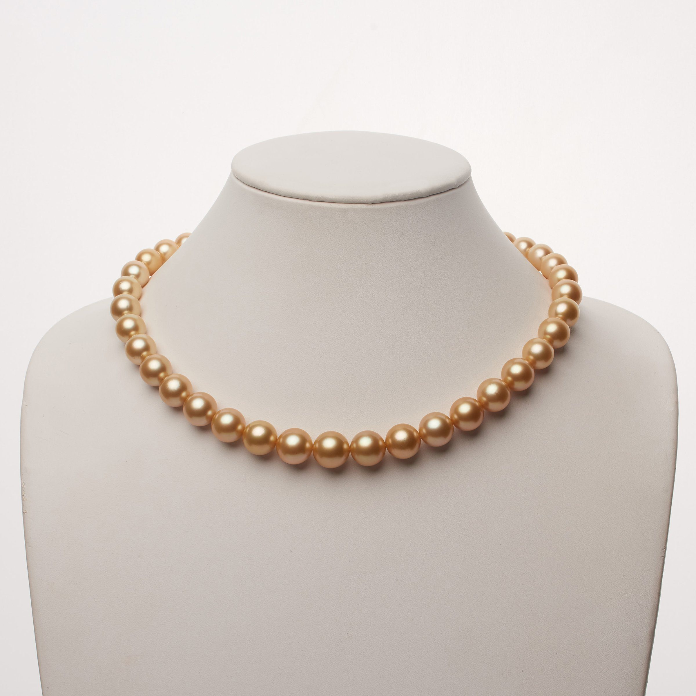 10.1-13.1 mm AAA Golden South Sea Round Pearl Necklace