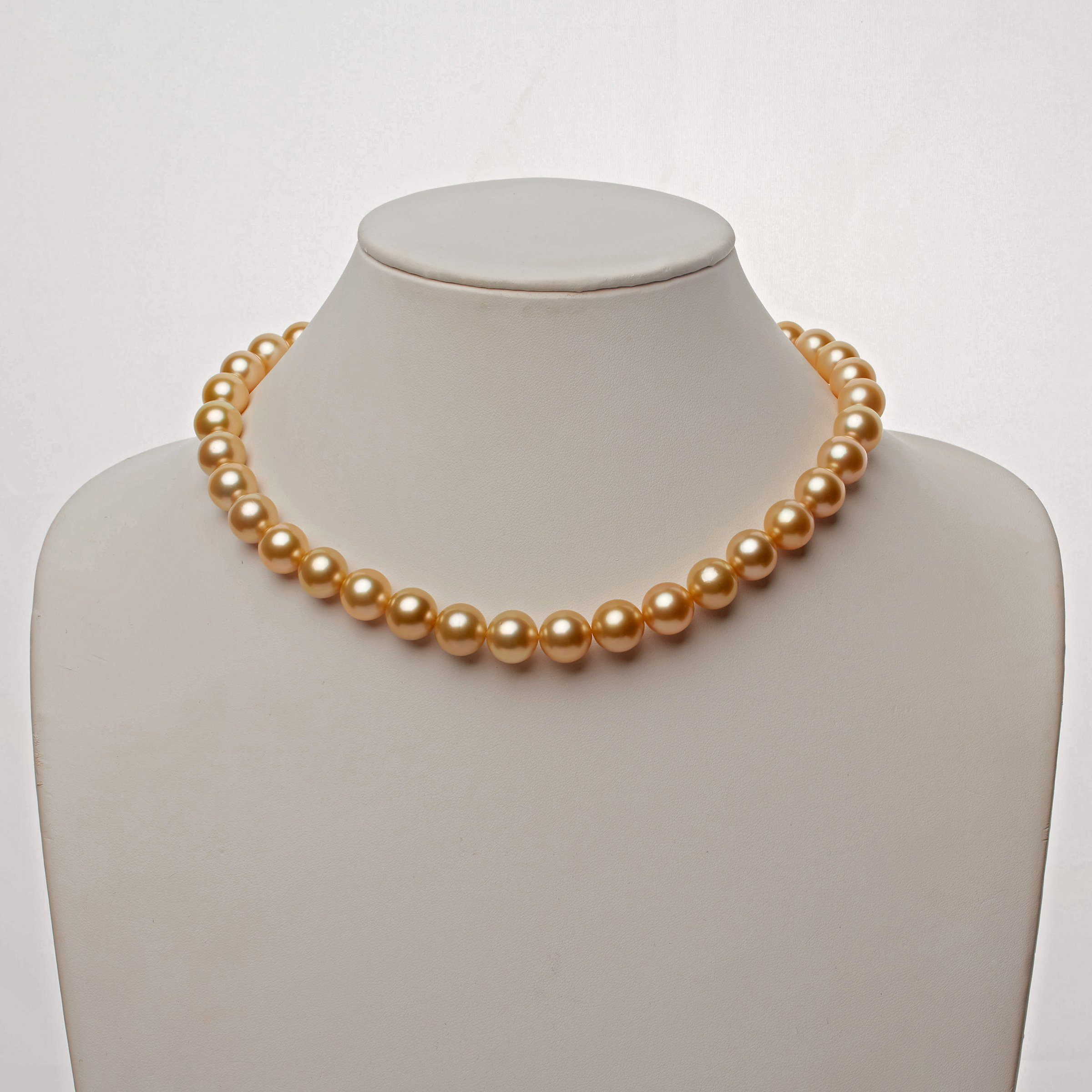 10.2-11.9 mm AAA Golden South Sea Round Pearl Necklace
