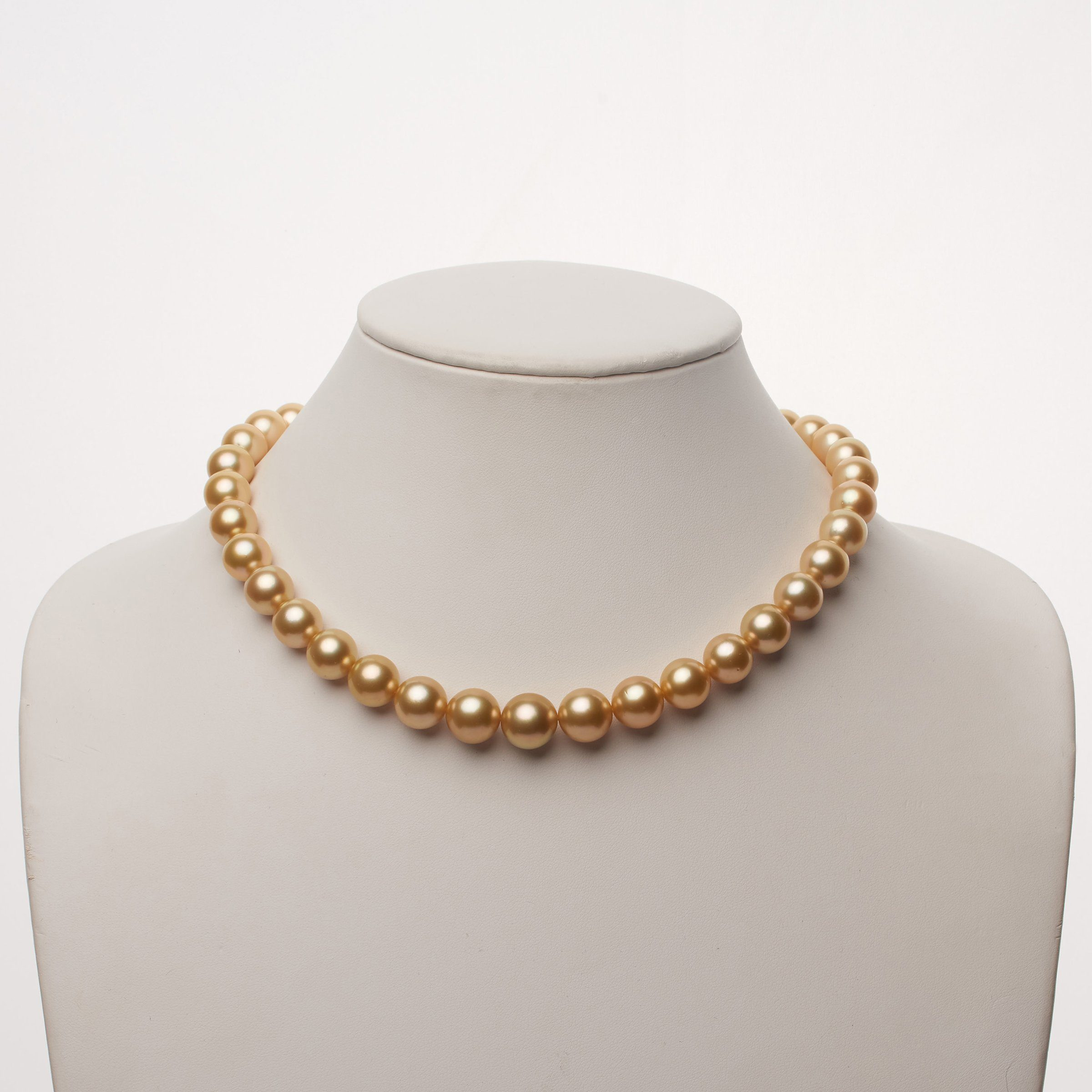 10.0-12.4 mm AAA  Golden South Sea Round Pearl Necklace