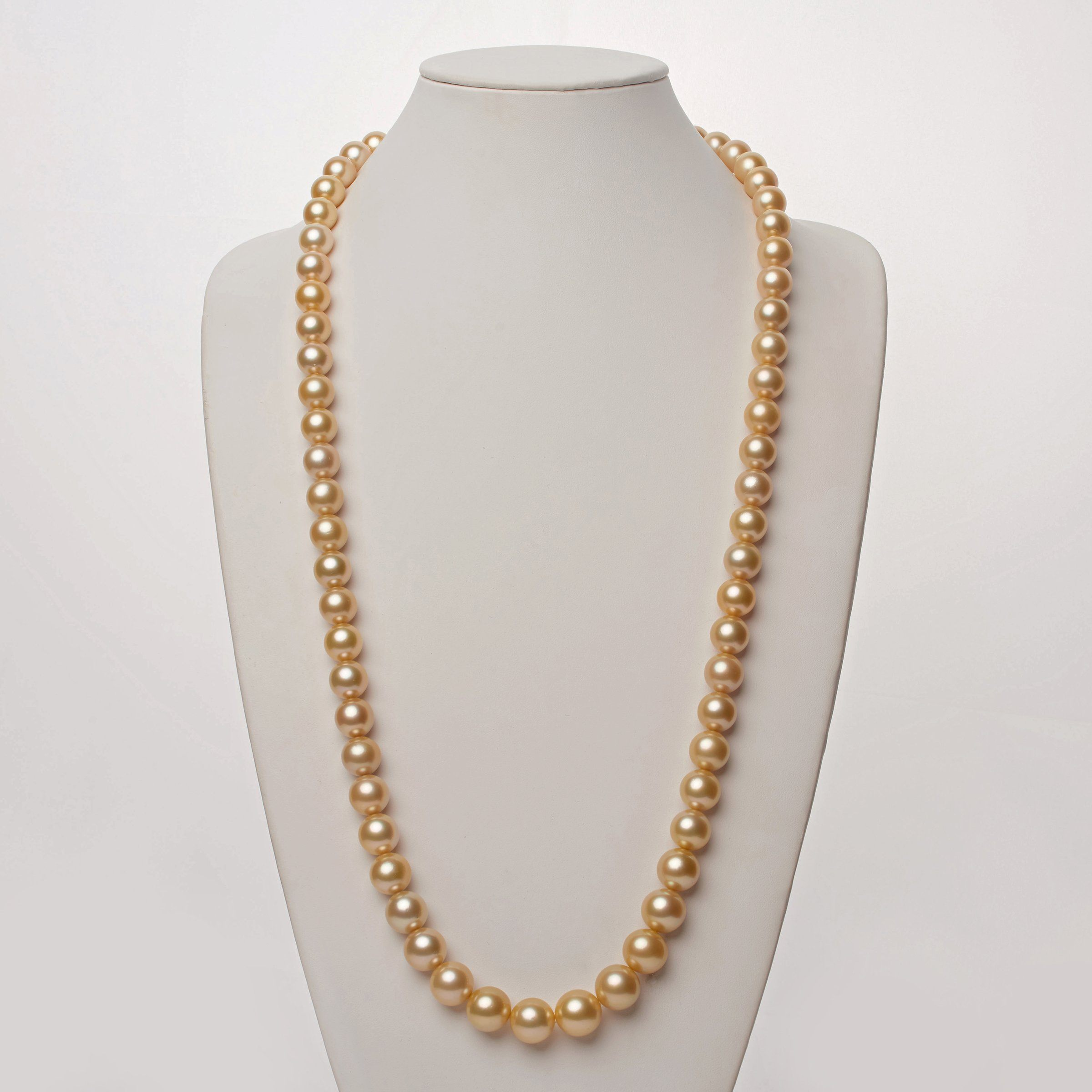 11.9-14.9 mm AAA Golden South Sea Round Pearl Necklace -  35 Inches