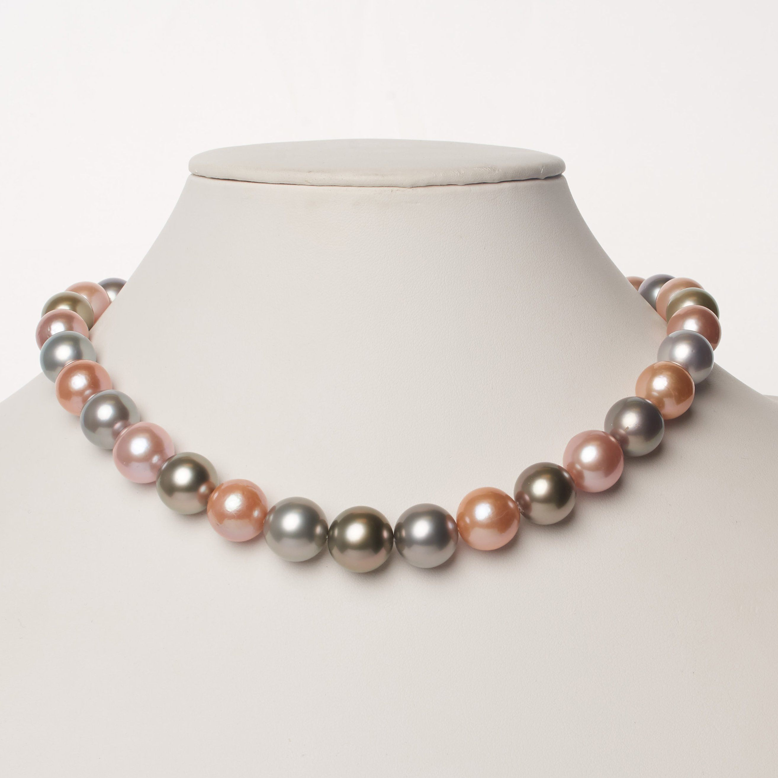 12.2-14.4 mm AAA Multicolored Round Pearl Necklace