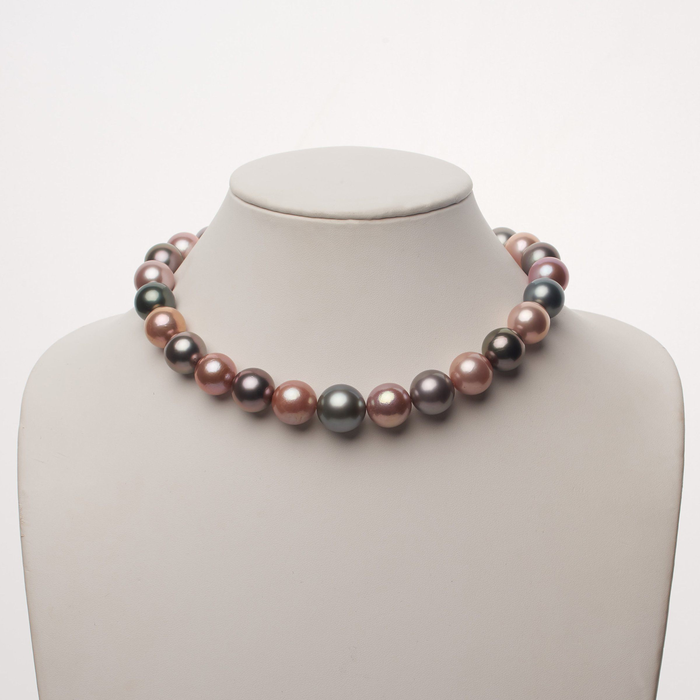 15.2-16.8 mm AAA Multicolored Round Pearl Necklace