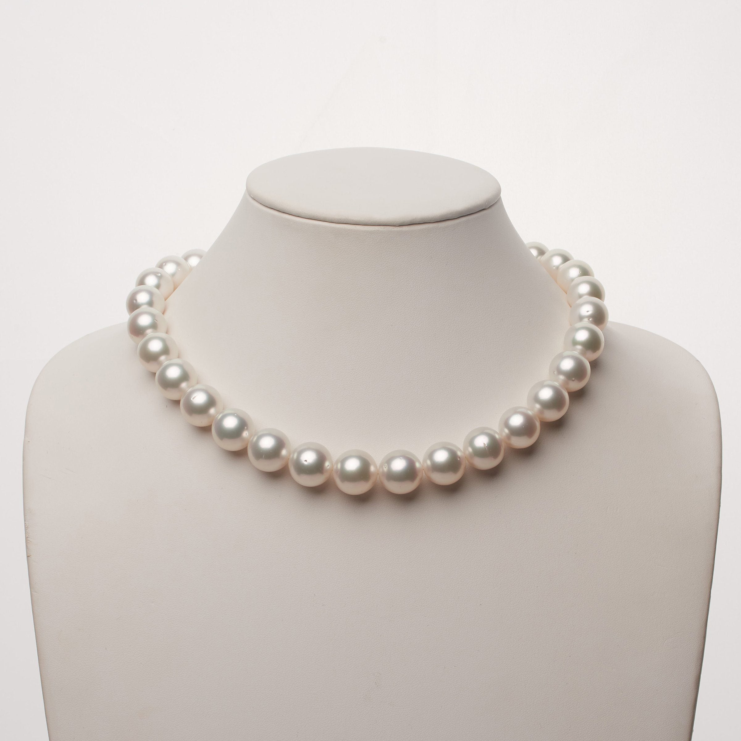 13.0-15.1 mm AA+ White South Sea Round Pearl Necklace