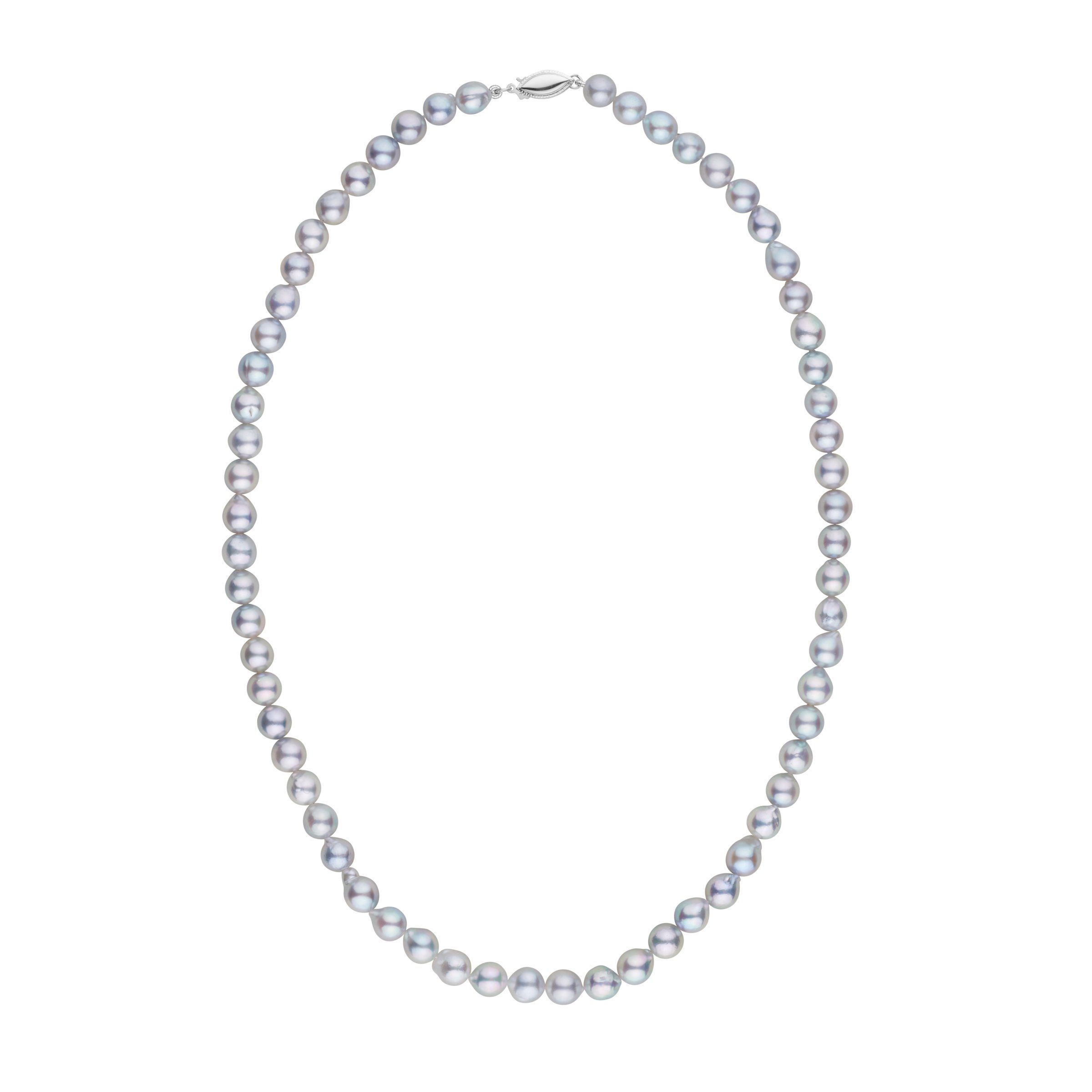 6.0-6.5 mm 18 Inch Silver-Blue Akoya Baroque Pearl Necklace