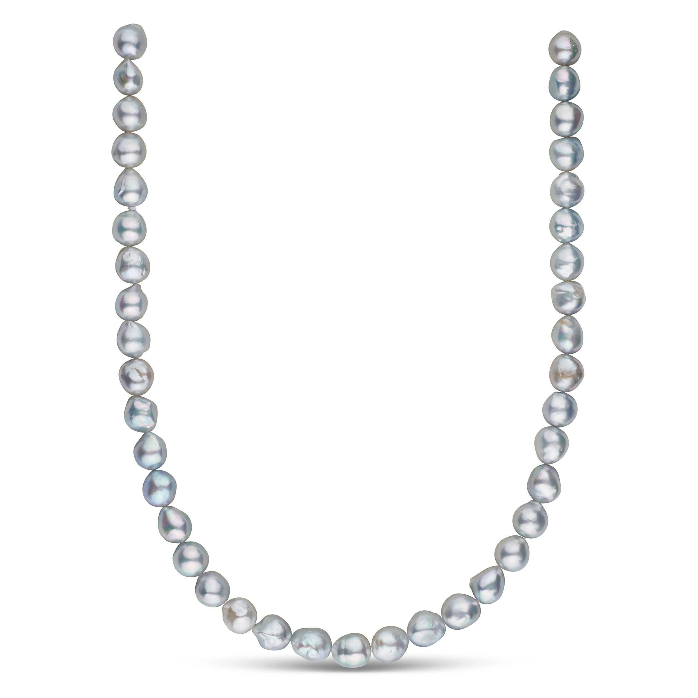 9.0-9.5 mm 18 Inch Silver-Blue Akoya Baroque Pearl Necklace