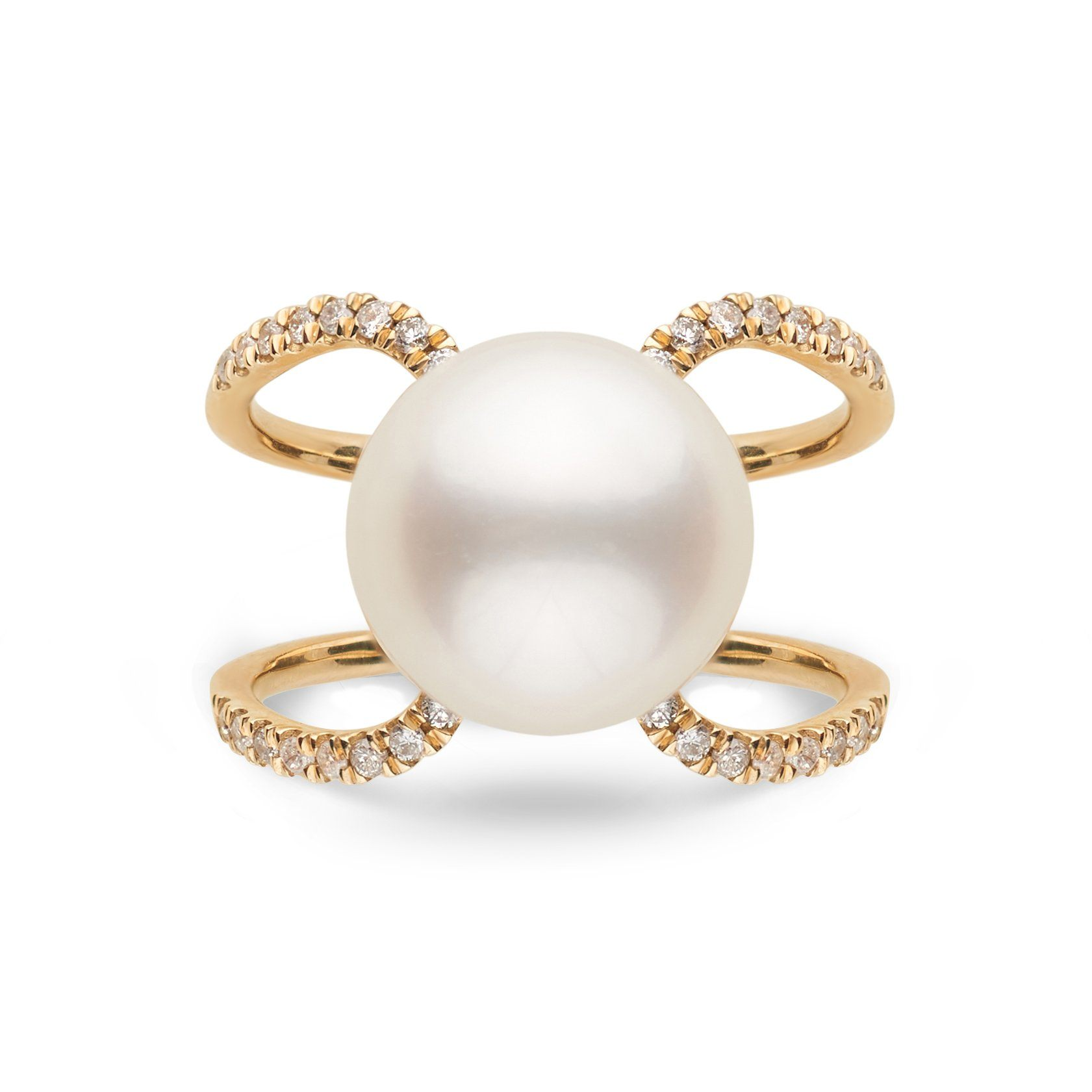 14K Yellow Gold Purity Collection White South Sea Pearl and Diamond Ring