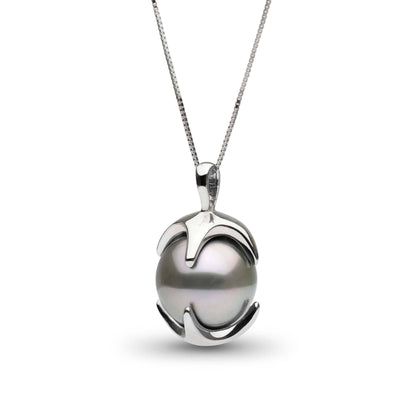 12.0-13.0 mm Silver Tahitian Pearl in Sterling Silver Oracle Pendant