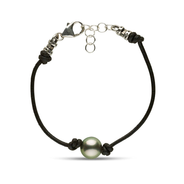 10.0-11.0 mm Round Tahitian Pearl and Knotted Leather Bracelet