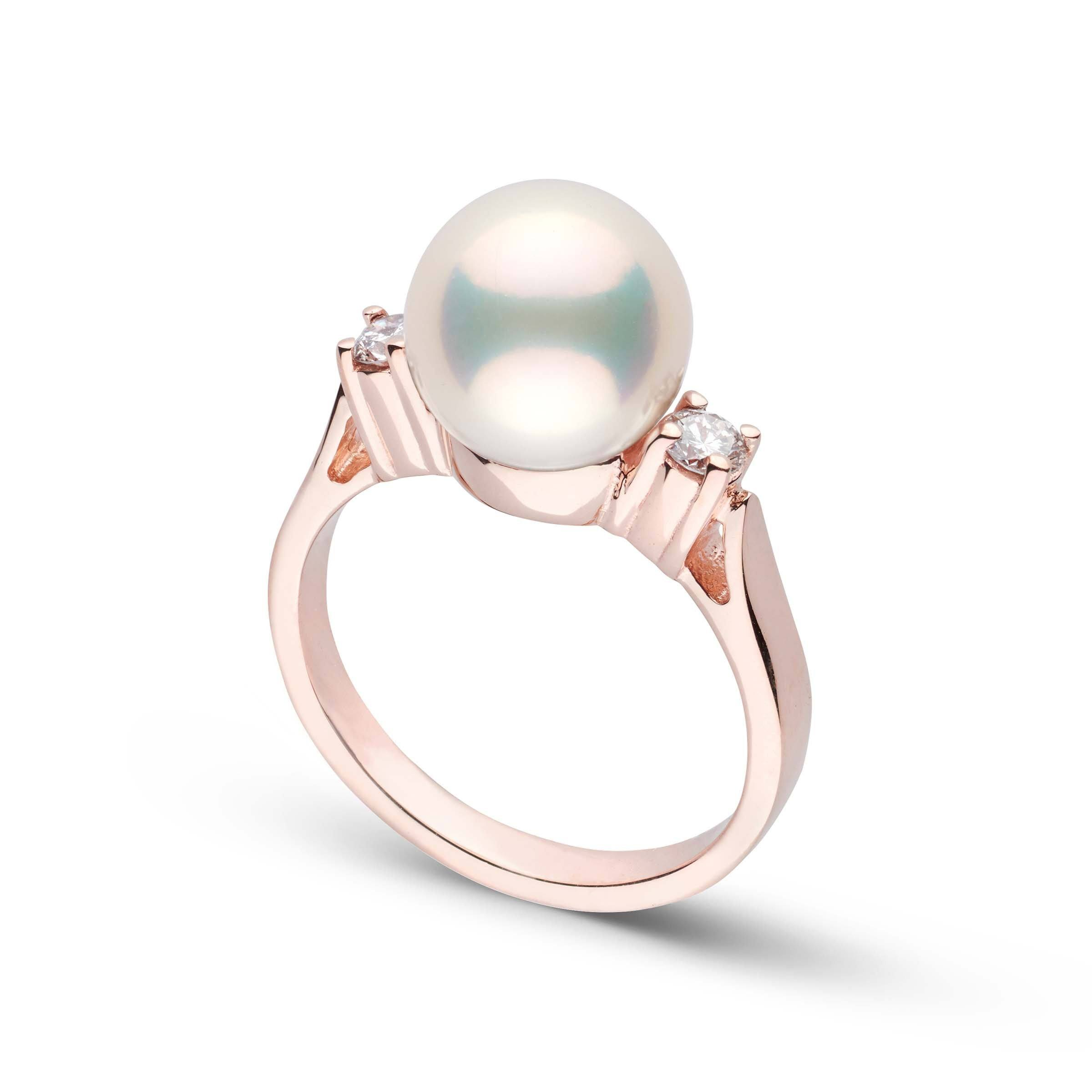 Bella Collection Metallic White Freshwater Pearl and Diamond Ring