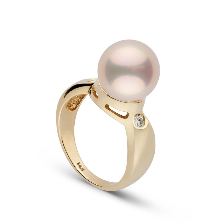 14K Bold Collection Ring with 10.0-11.0 mm Light Peach Metallic Freshwater Pearl