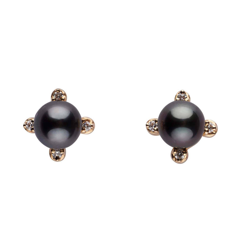 Elements Collection Tahitian Pearl and Diamond Stud Earrings