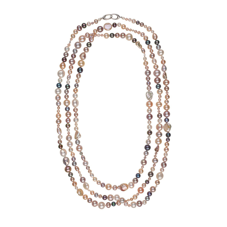 81-inch Multicolor Freshwater Harvest Strand Necklace with Sterling Silver Orbit Clasp
