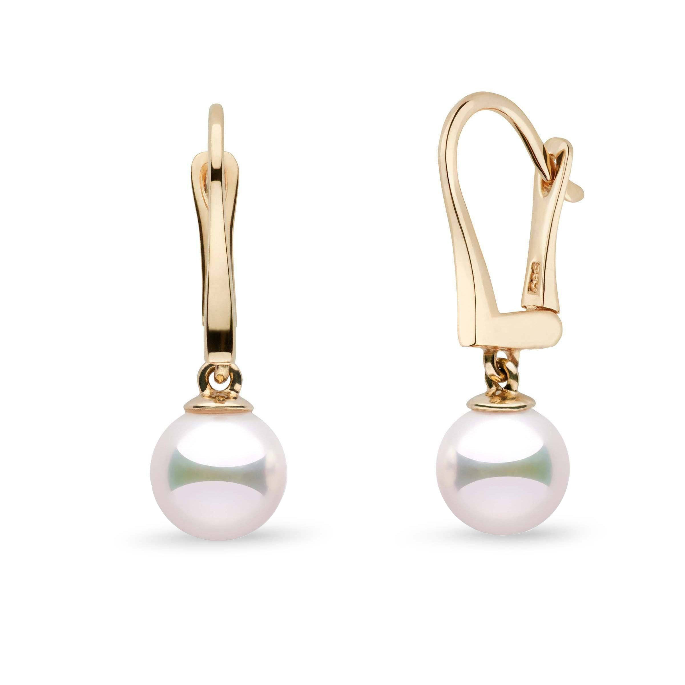 Classic Collection 7.5-8.0 mm White Hanadama Pearl Dangle Earrings