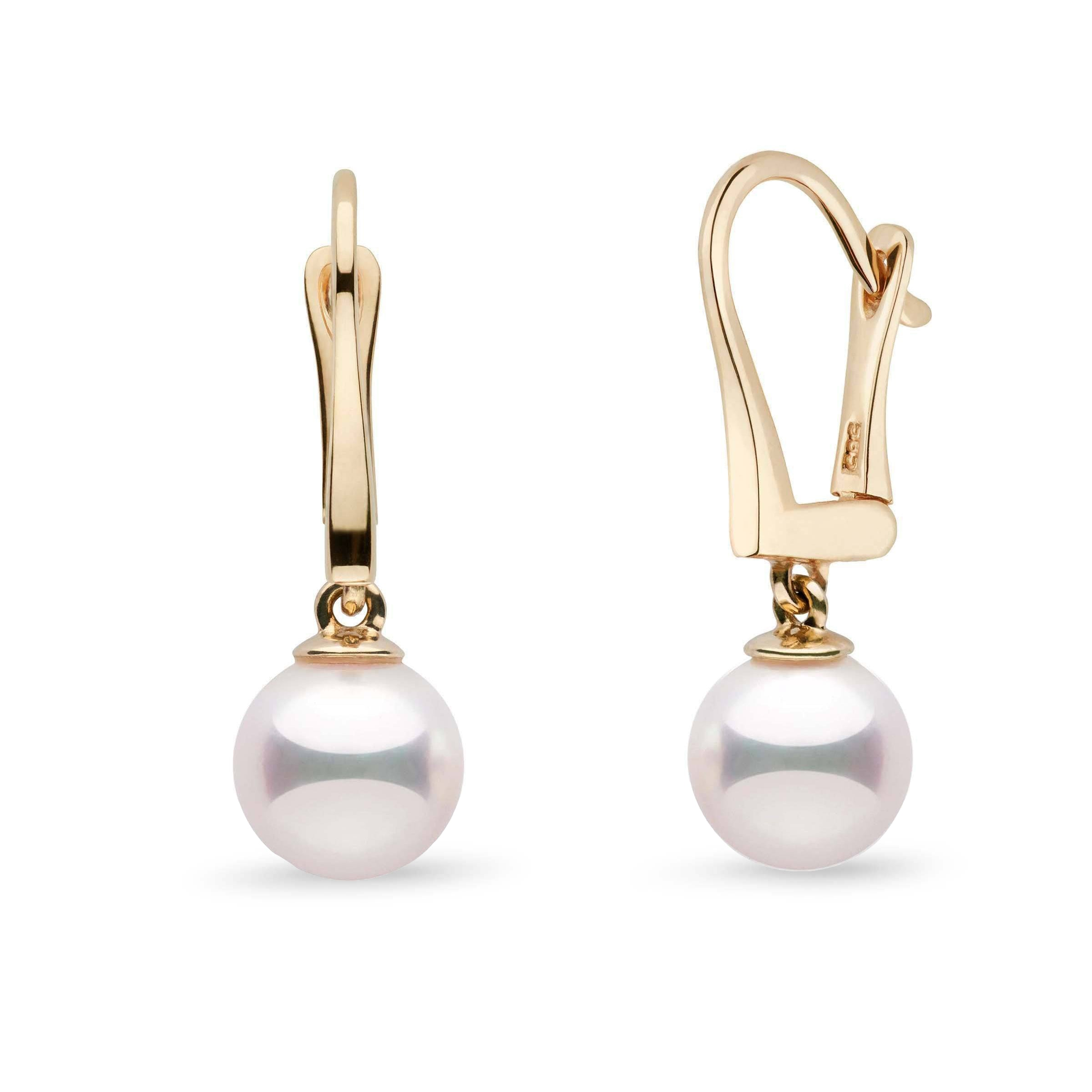 Classic Collection 8.0-8.5 mm White Hanadama Pearl Dangle Earrings