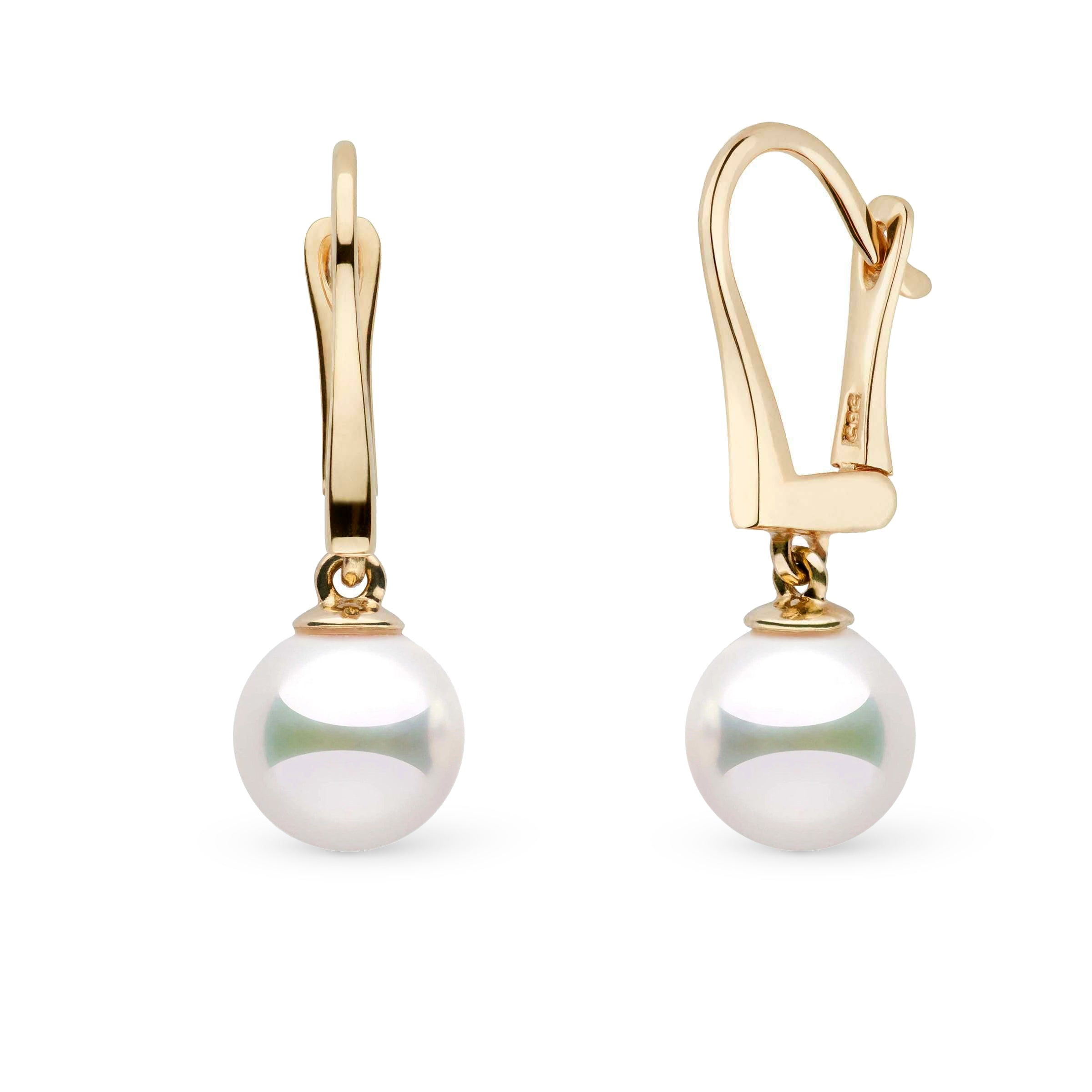 Classic Collection 8.0-8.5 mm Natural White Hanadama Pearl Dangle Earrings