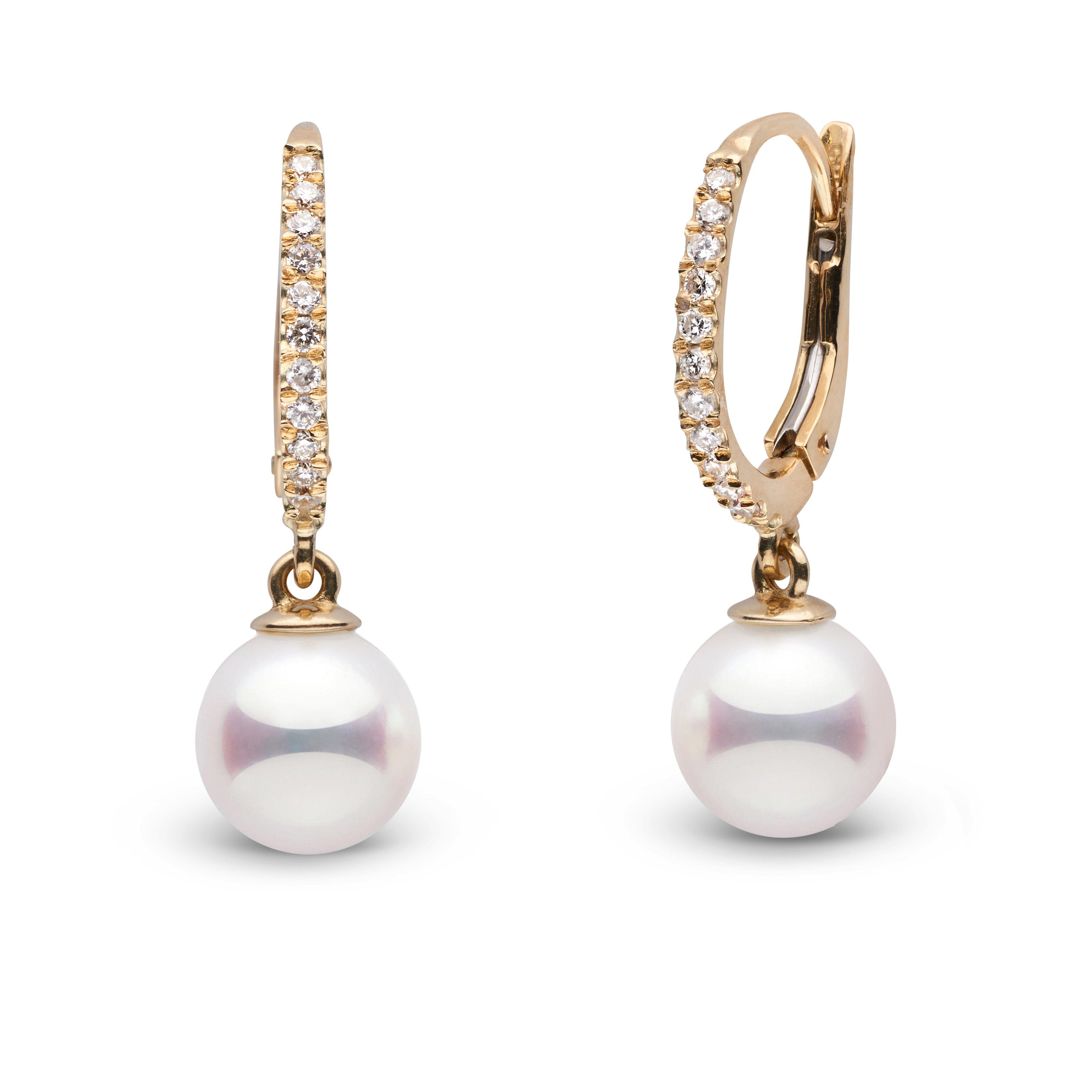 Eternal Collection 7.0-7.5 mm White Hanadama Pearl and Diamond Dangle Earrings
