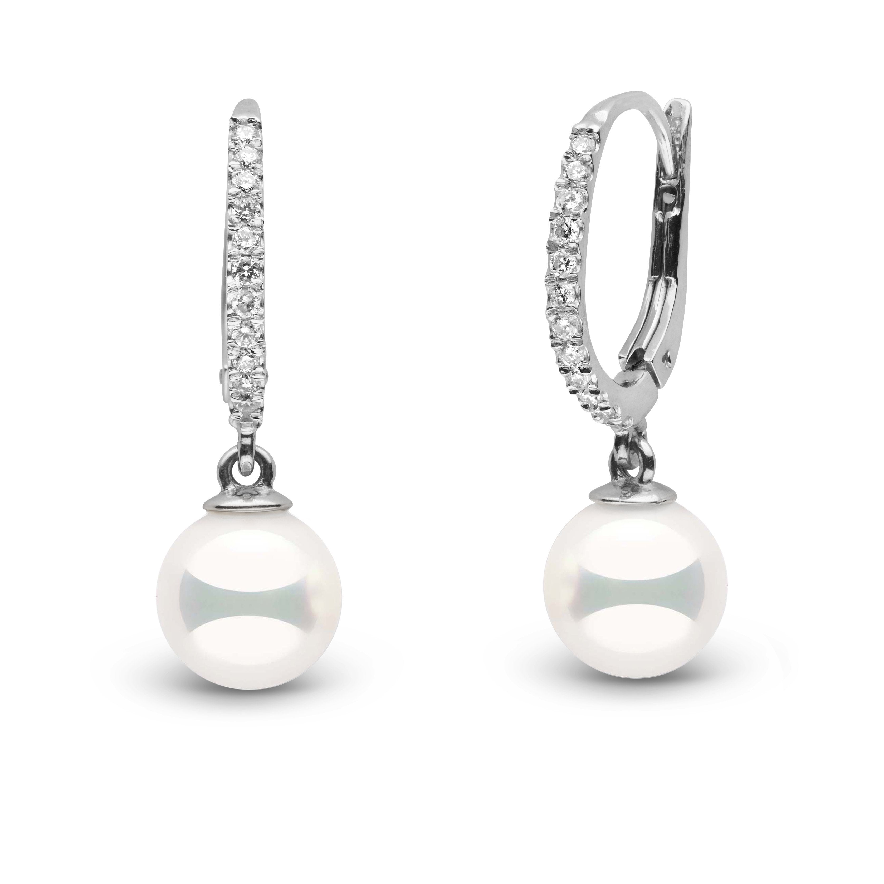 Eternal Collection 7.0-7.5 mm Natural White Hanadama Pearl and Diamond Dangle Earrings
