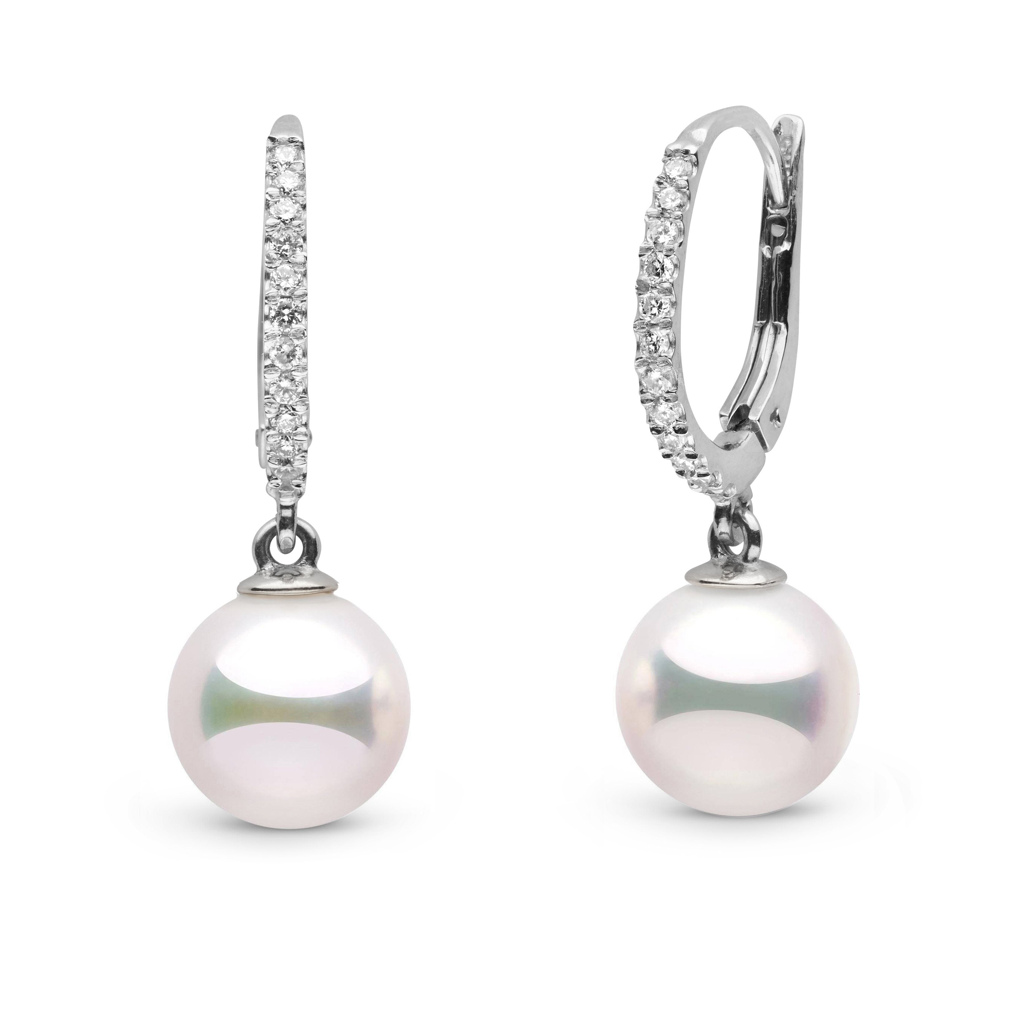 Eternal Collection 9.0-9.5 mm White Hanadama Pearl and Diamond Dangle Earrings