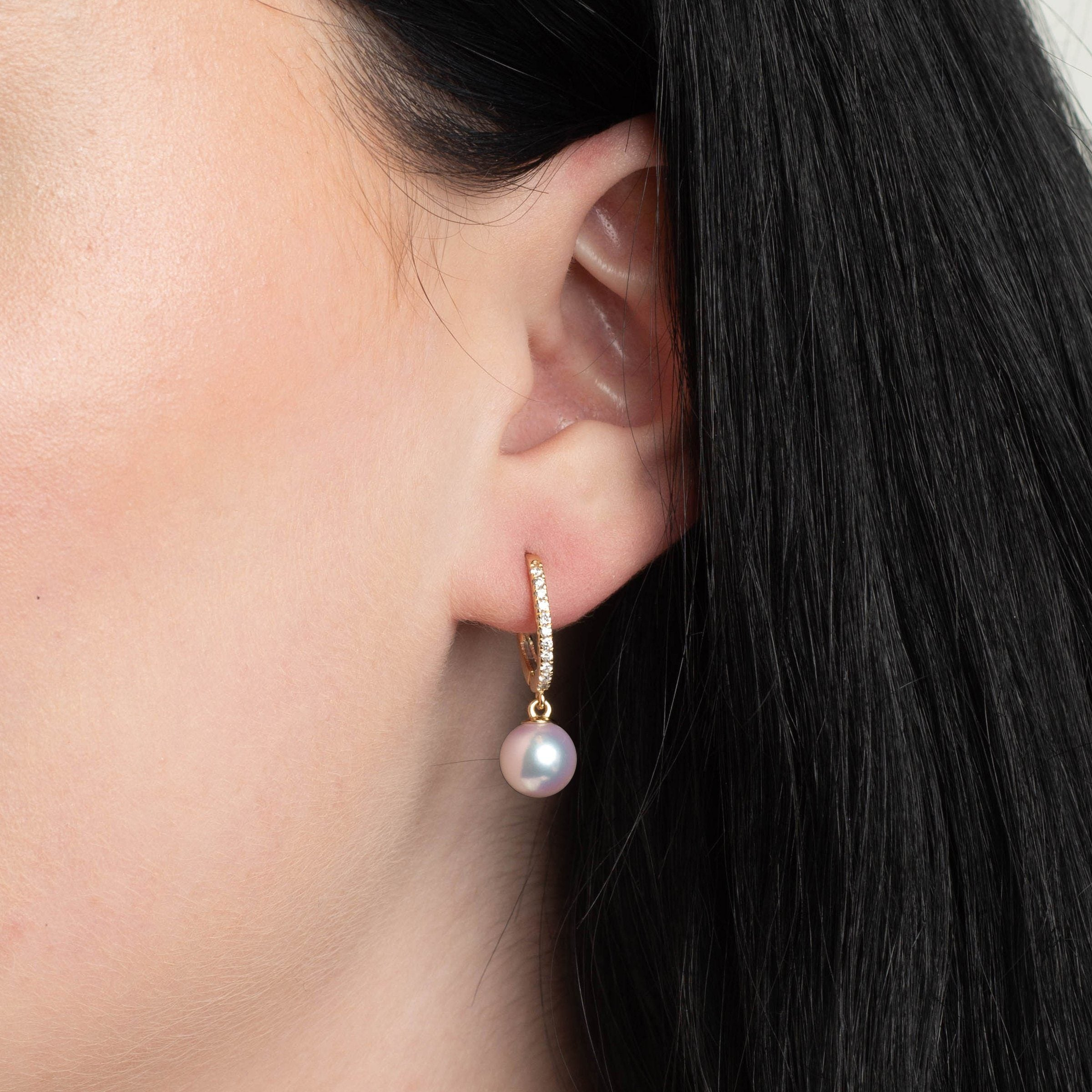 Eternal Collection 8.5-9.0 mm White Hanadama Pearl and Diamond Dangle Earrings
