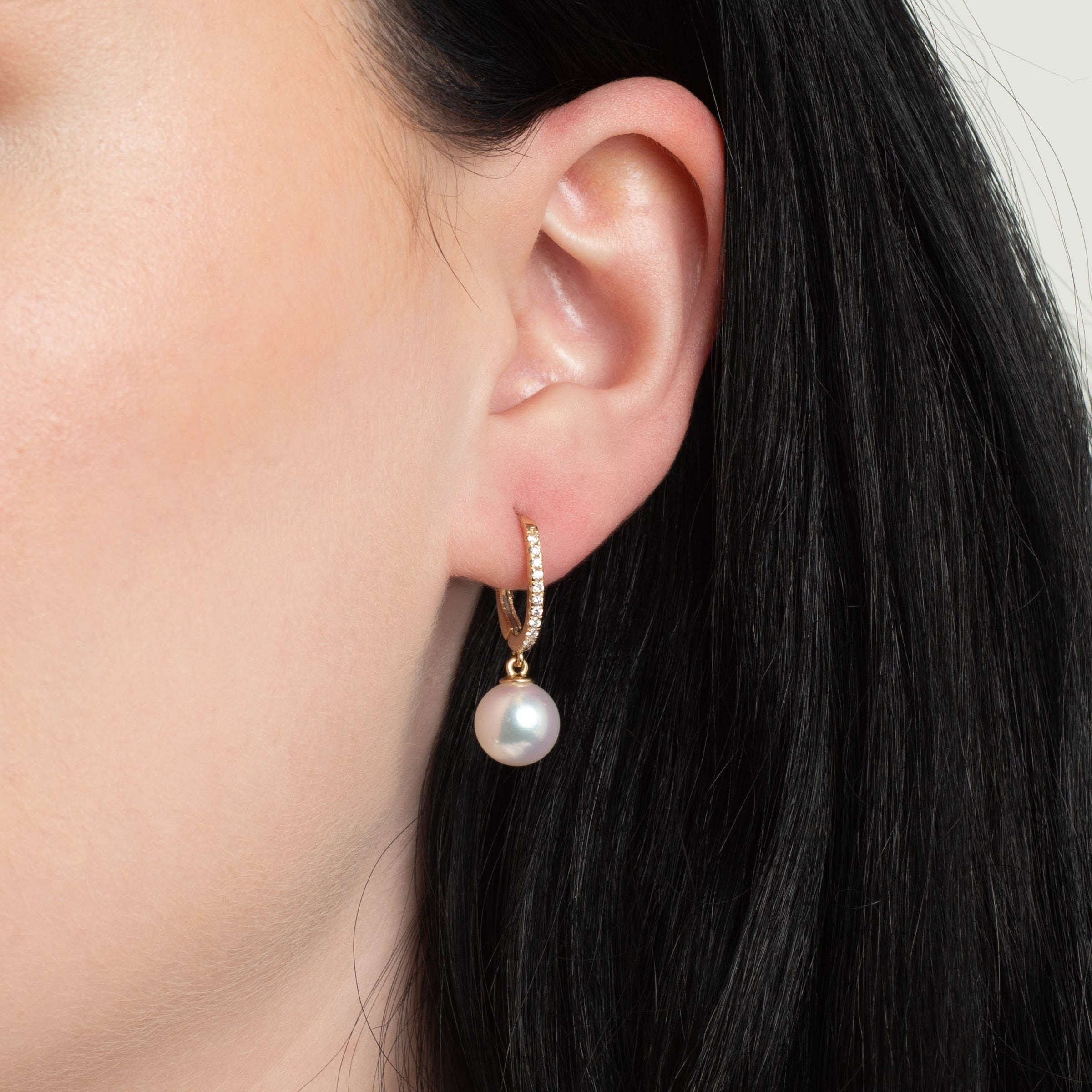 Eternal Collection 9.0-9.5 mm Natural White Hanadama Pearl and Diamond Dangle Earrings