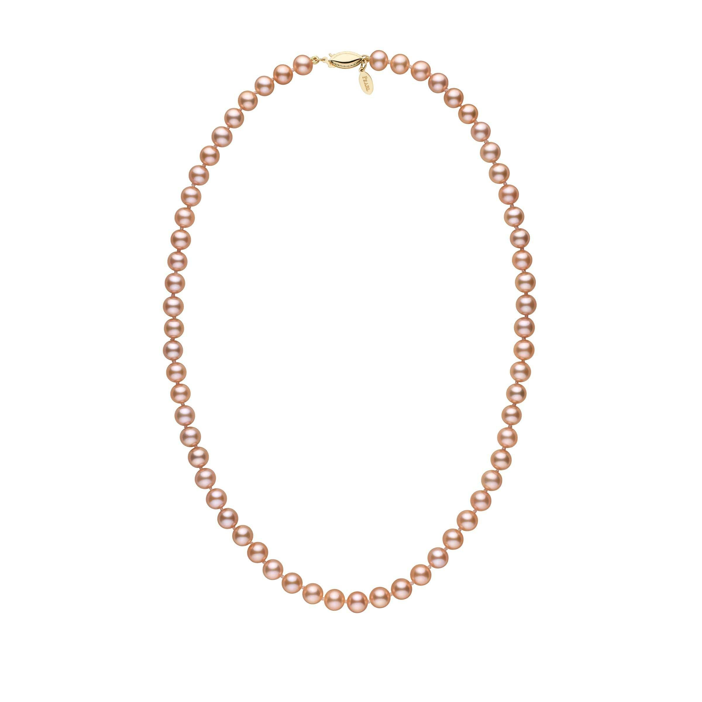 6.5-7.0 mm 18 Inch Pink to Peach Freshadama Freshwater Pearl Necklace